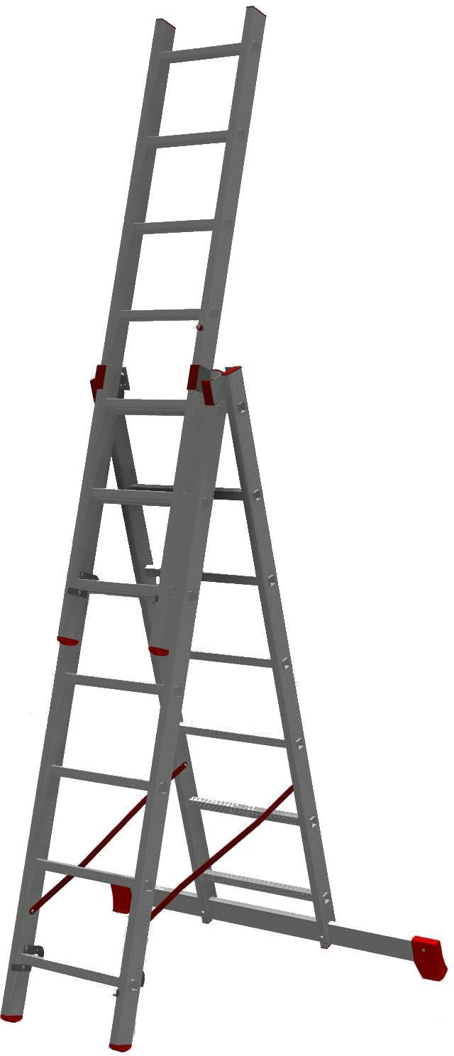 Лестница алюминиевая трехсекционная НОВАЯ ВЫСОТА 3х7
