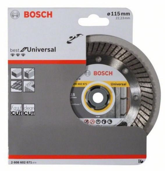 Круг алмазный Bosch Best for universal turbo 115x22 турбо (2.608.602.671)