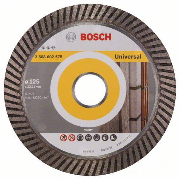 Круг алмазный Bosch Expert for universal turbo 125x22 турбо (2.608.602.575) диск отрезной алмазный турбо 125х22 2mm 20007 ottom 125x22 2mm