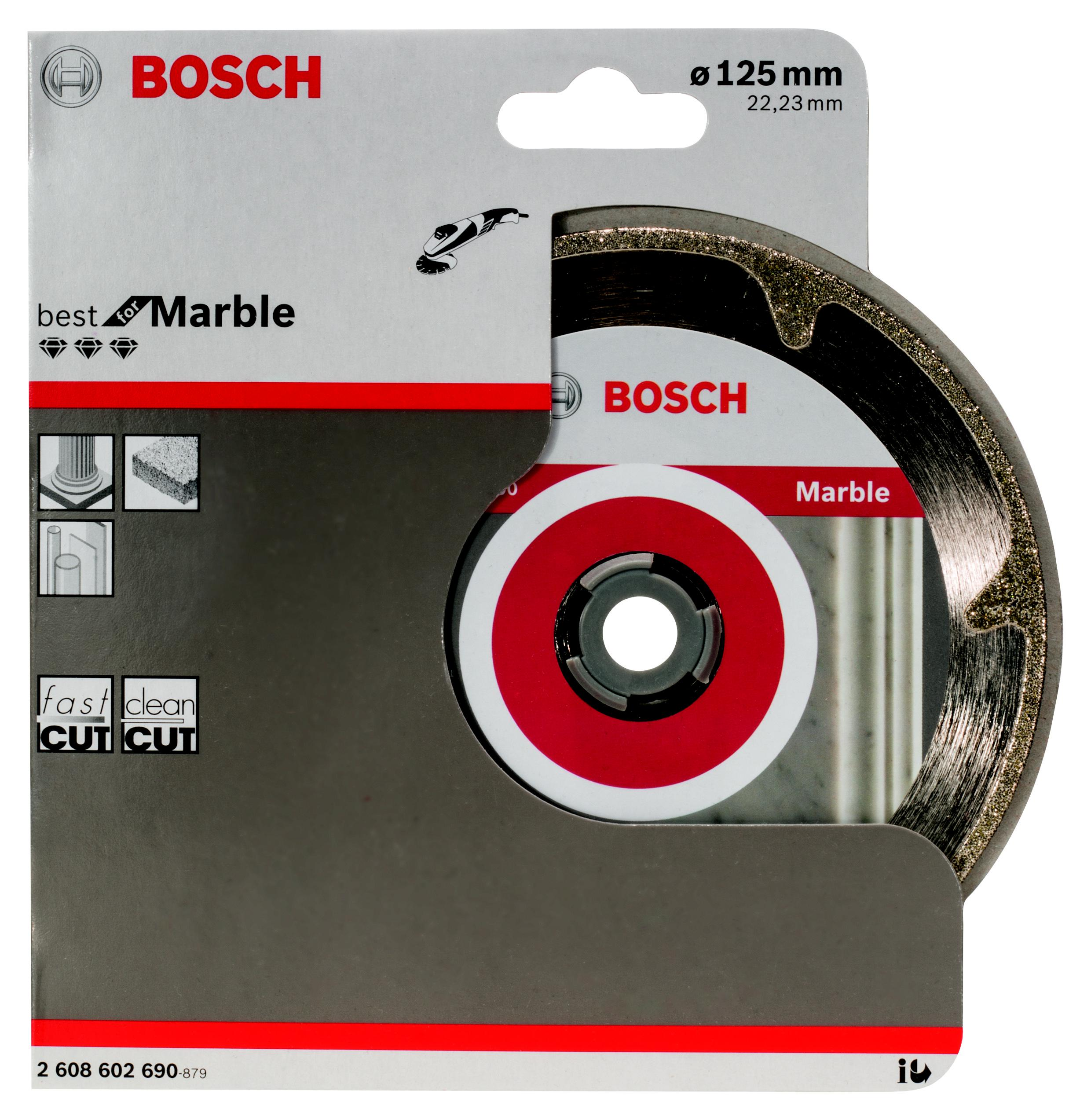 Круг алмазный Bosch Best for marble 125x22 сегмент (2.608.602.690) диск отрезной алмазный турбо 125х22 2mm 20007 ottom 125x22 2mm