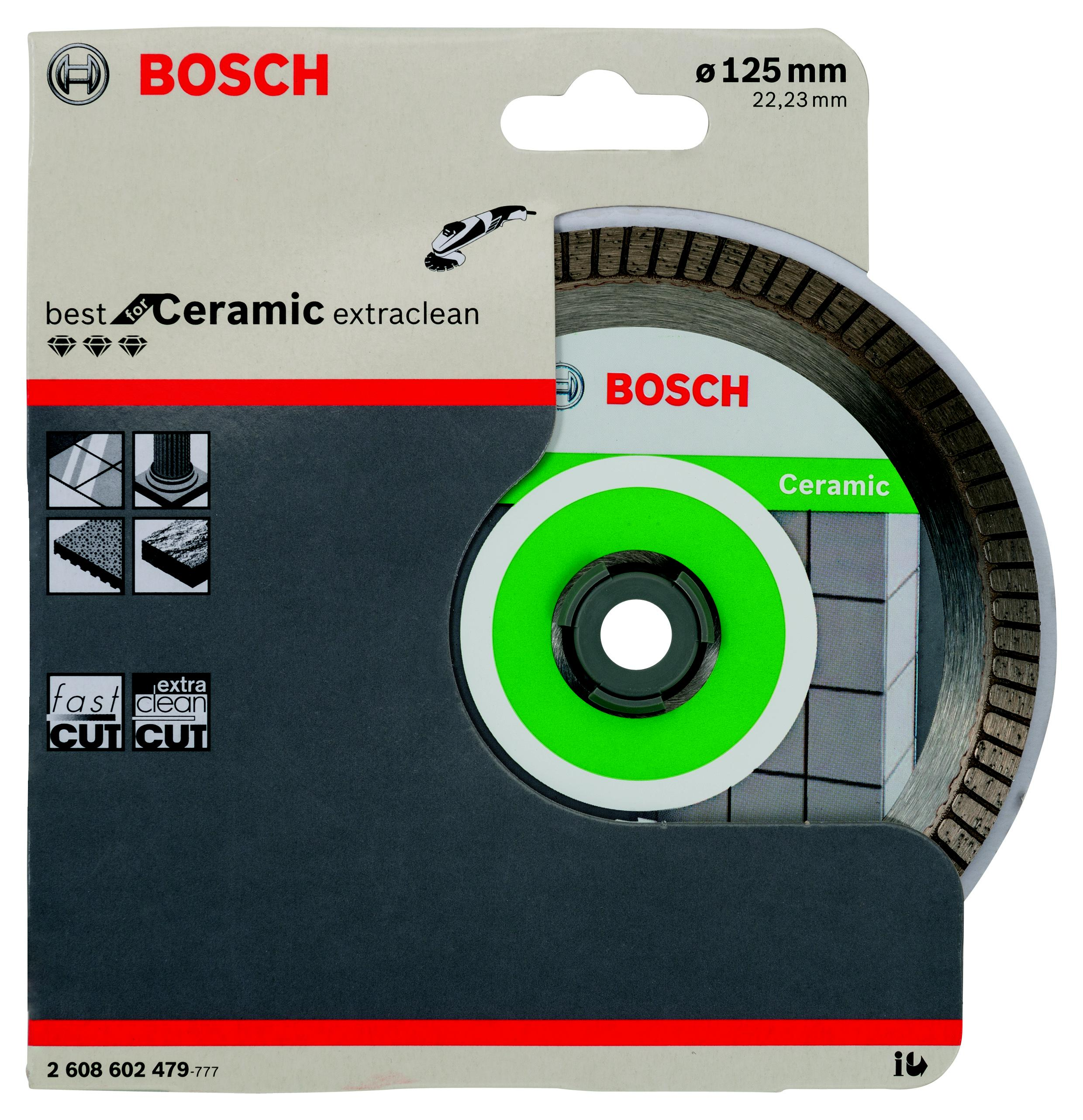 Круг алмазный Bosch Best for ceramic extraclean turbo 125x22 турбо (2.608.602.479) диск отрезной алмазный турбо 125х22 2mm 20007 ottom 125x22 2mm