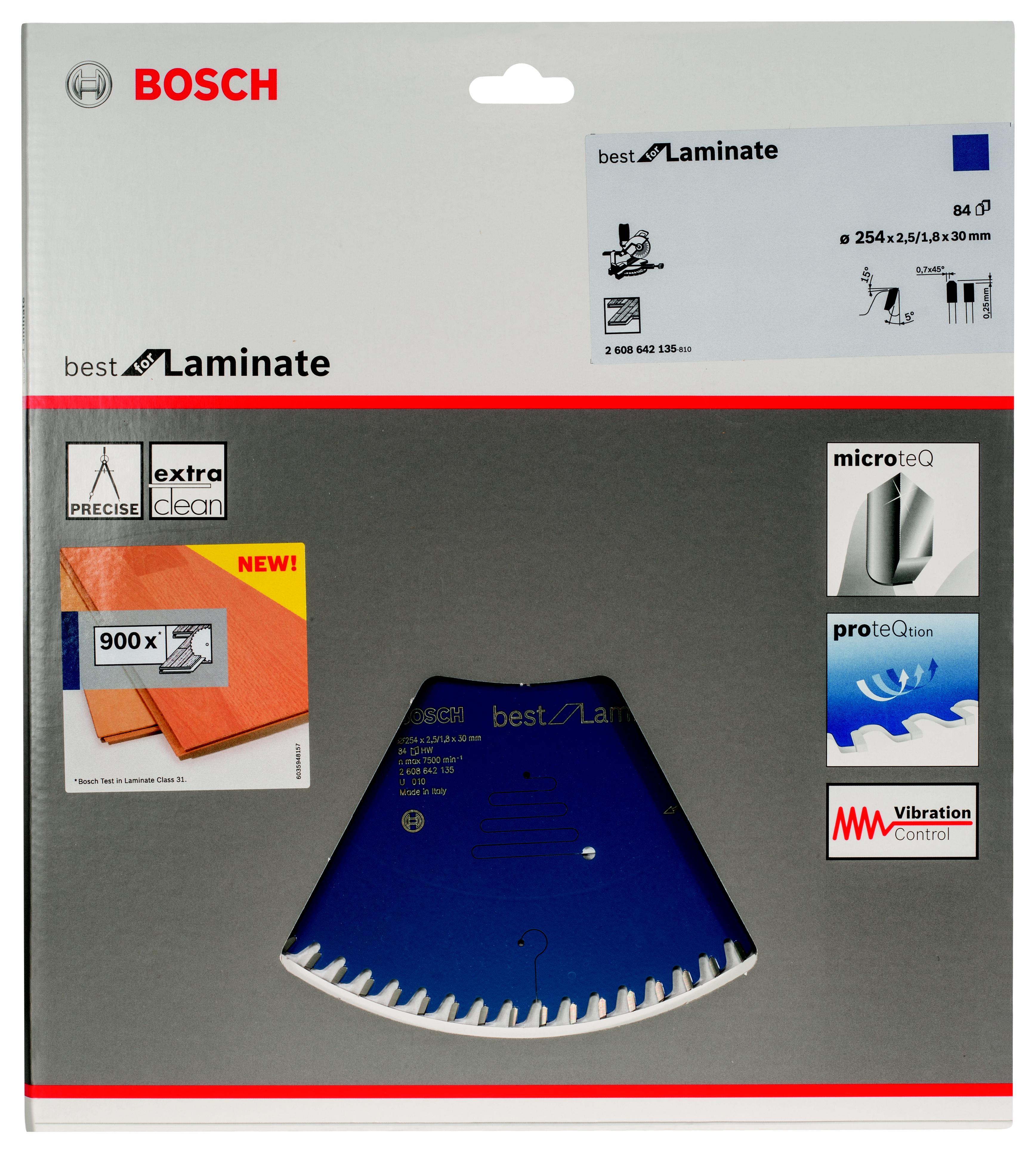 Диск пильный твердосплавный Bosch Best for laminate 254x84x30 (2.608.642.135) ламинат egger laminate flooring 2015 classic 8 32 дуб цермат терра 32 класс
