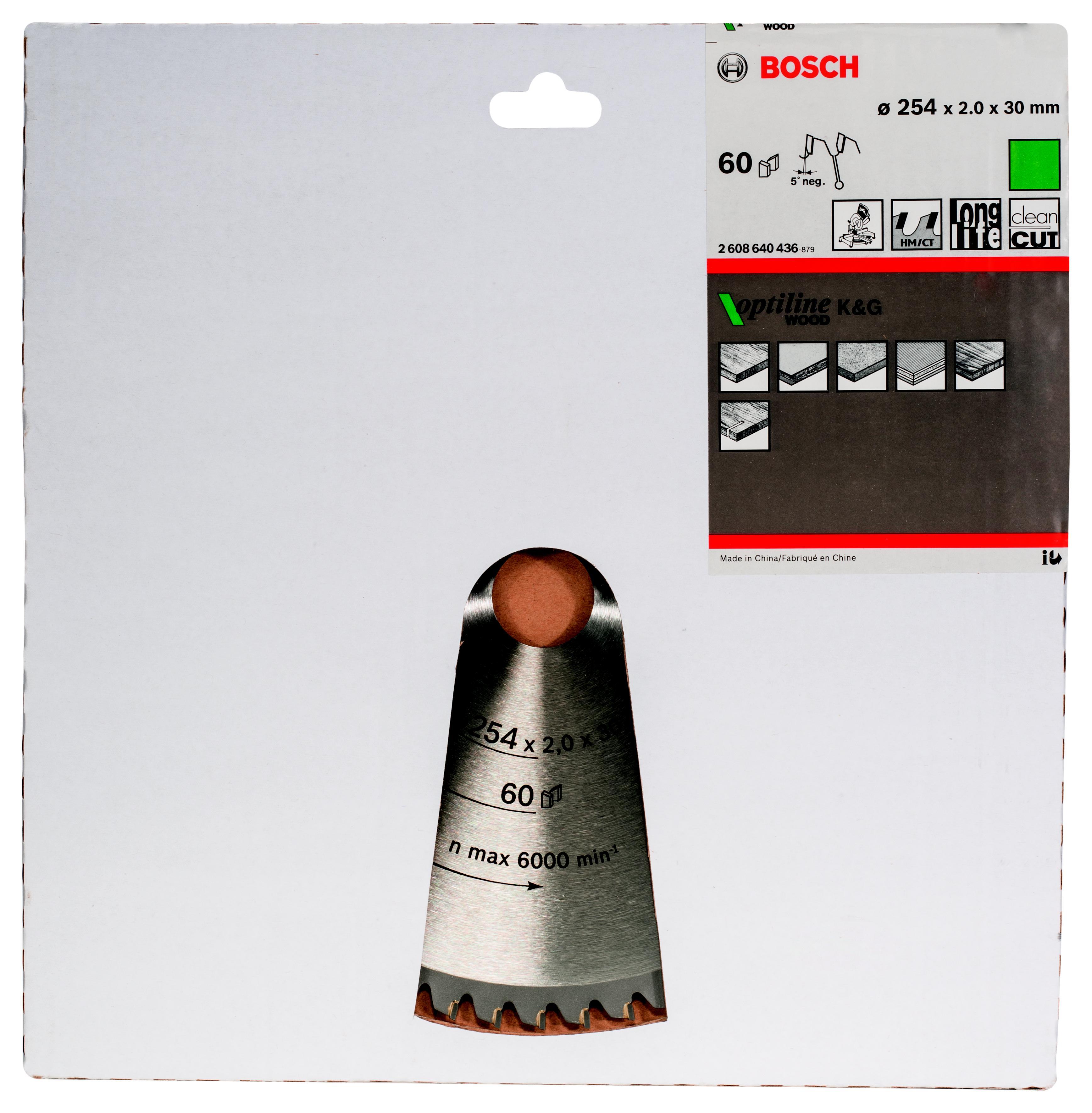 Диск пильный твердосплавный Bosch Optiline wood 254x60x30 (2.608.640.436) диск пильный bosch 190х20мм 36зубьев optiline wood 2 608 640 613