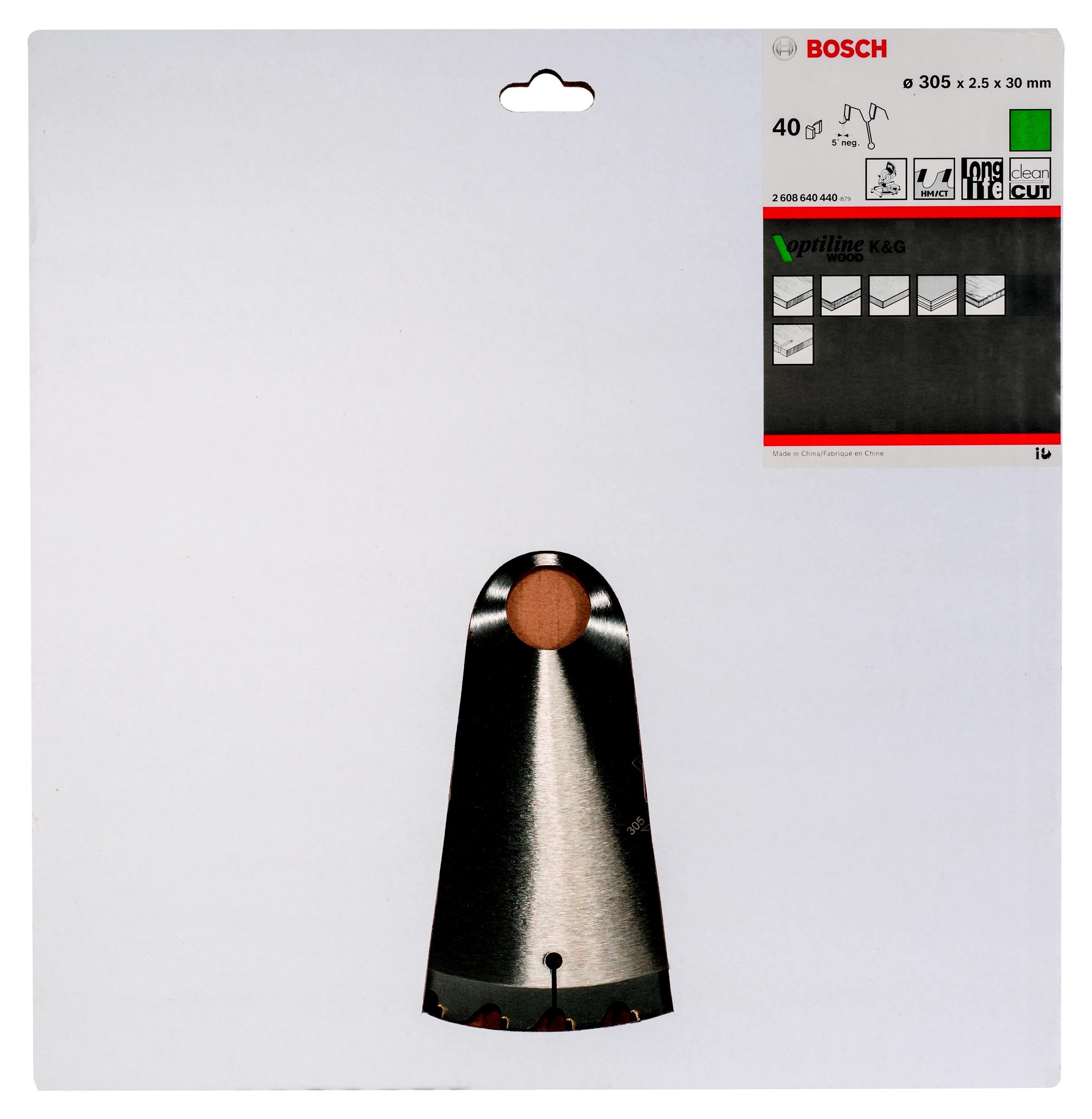 Диск пильный твердосплавный Bosch Optiline wood 305x40x30 gcm 12 (2.608.640.440)