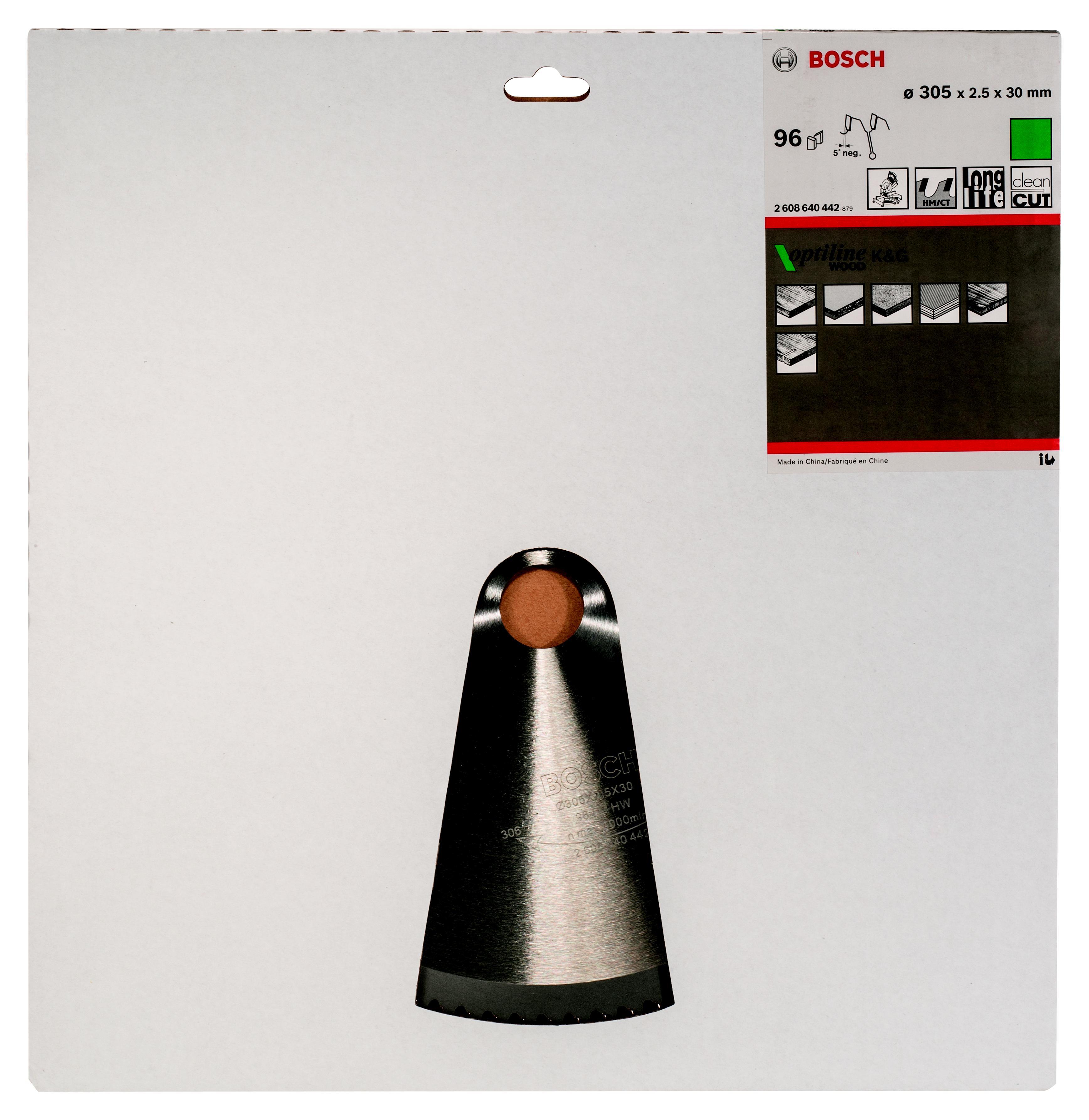 Диск пильный твердосплавный Bosch Optiline wood 305x96x30 gcm 12 (2.608.640.442)