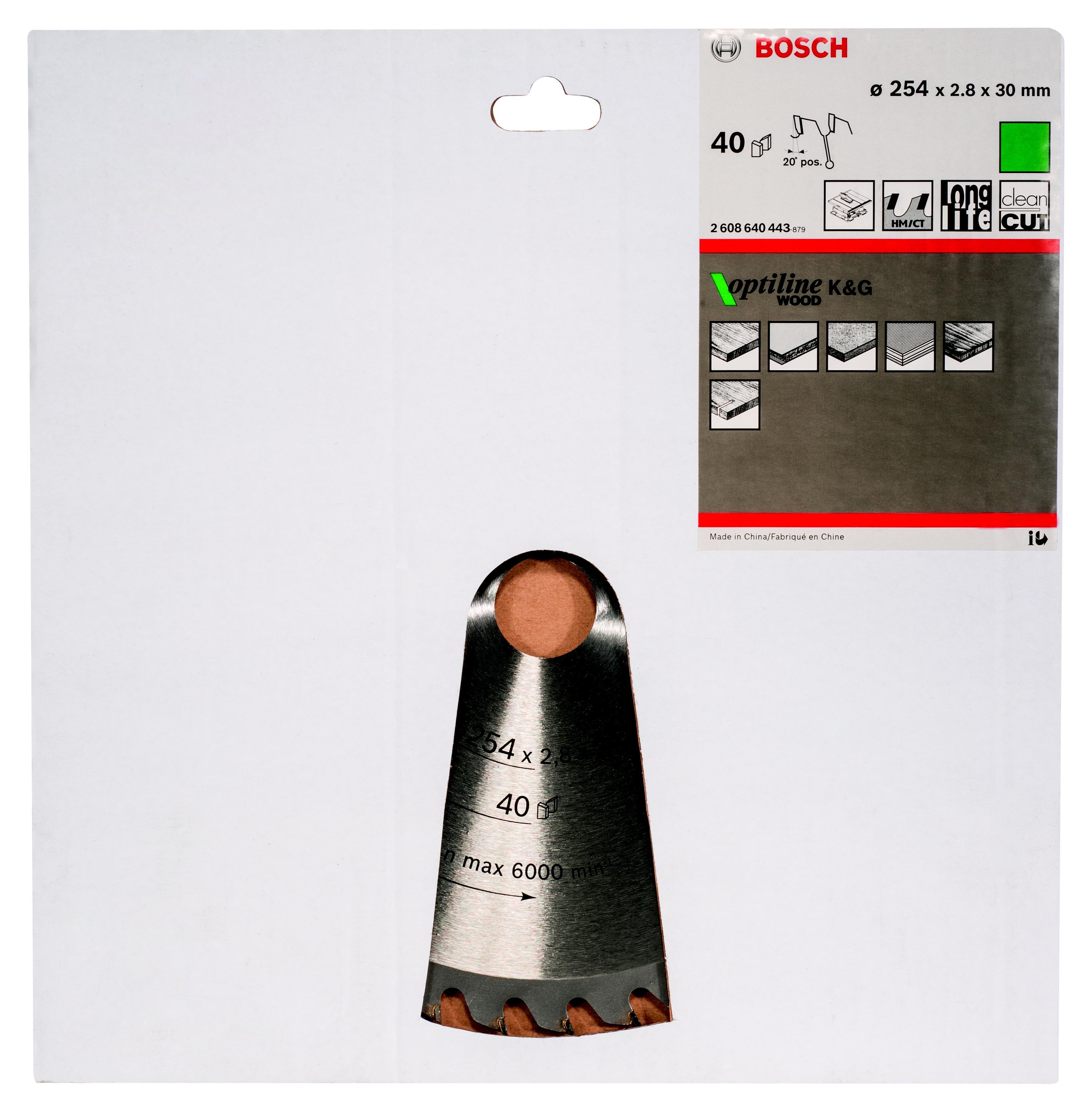 Диск пильный твердосплавный Bosch Optiline wood 254x40x30 gcm 10 (2.608.640.443) панельная пила bosch gcm 800 sj