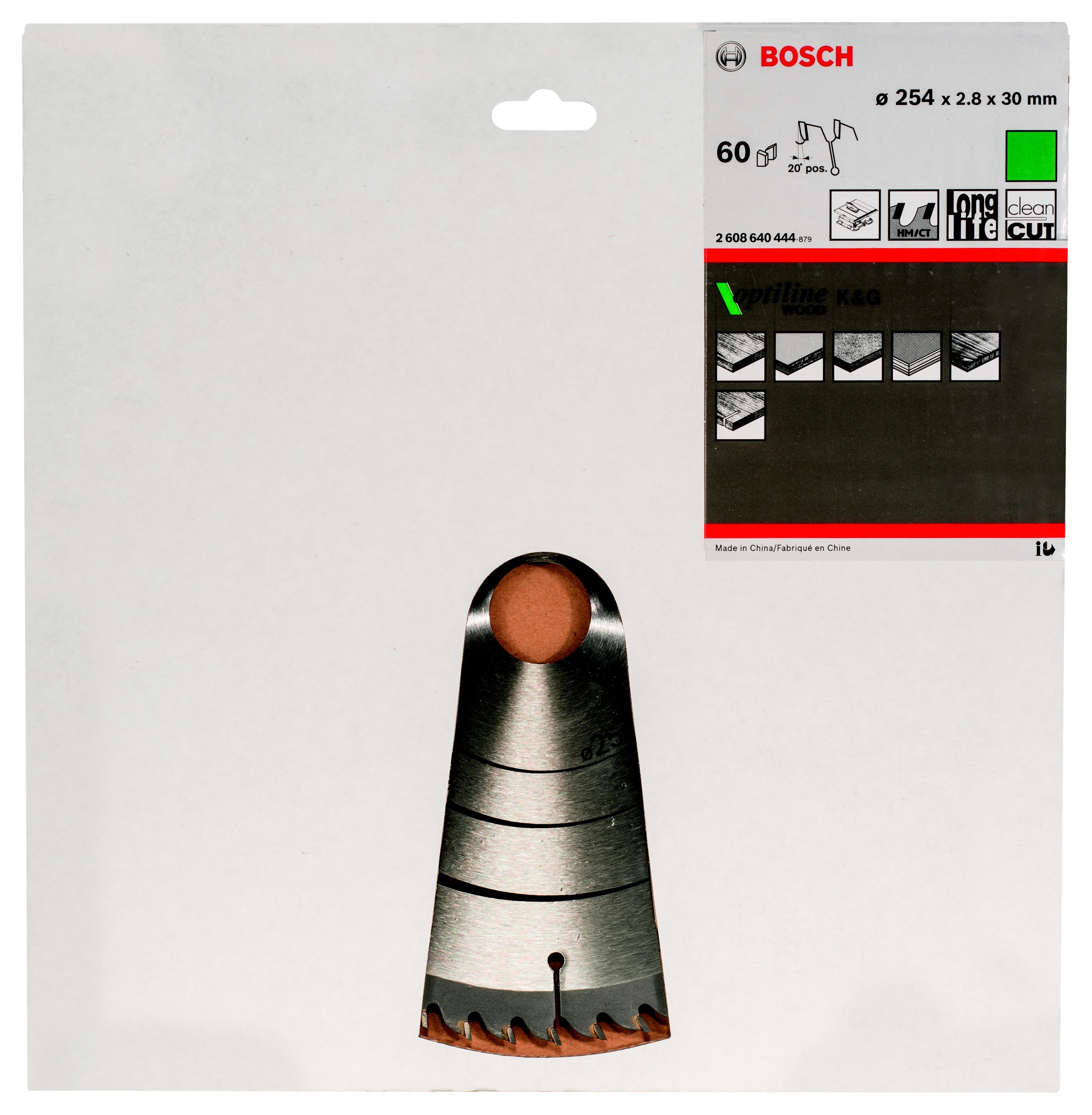 Диск пильный твердосплавный Bosch Optiline wood 254x60x30 gcm 10 (2.608.640.444)