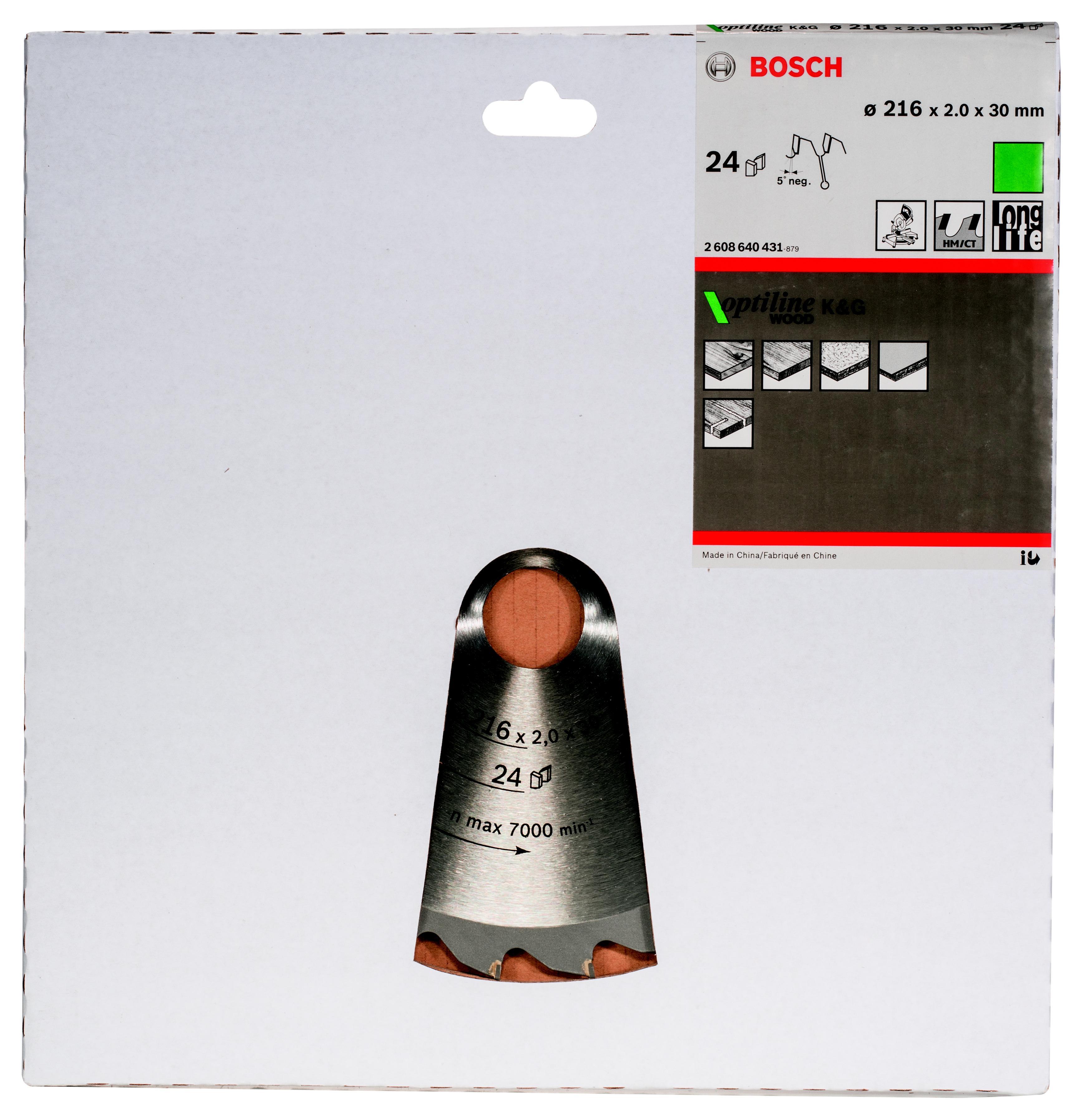 Диск пильный твердосплавный Bosch Optiline wood 216x24x30 (2.608.640.431) диск пильный bosch 190х20мм 36зубьев optiline wood 2 608 640 613
