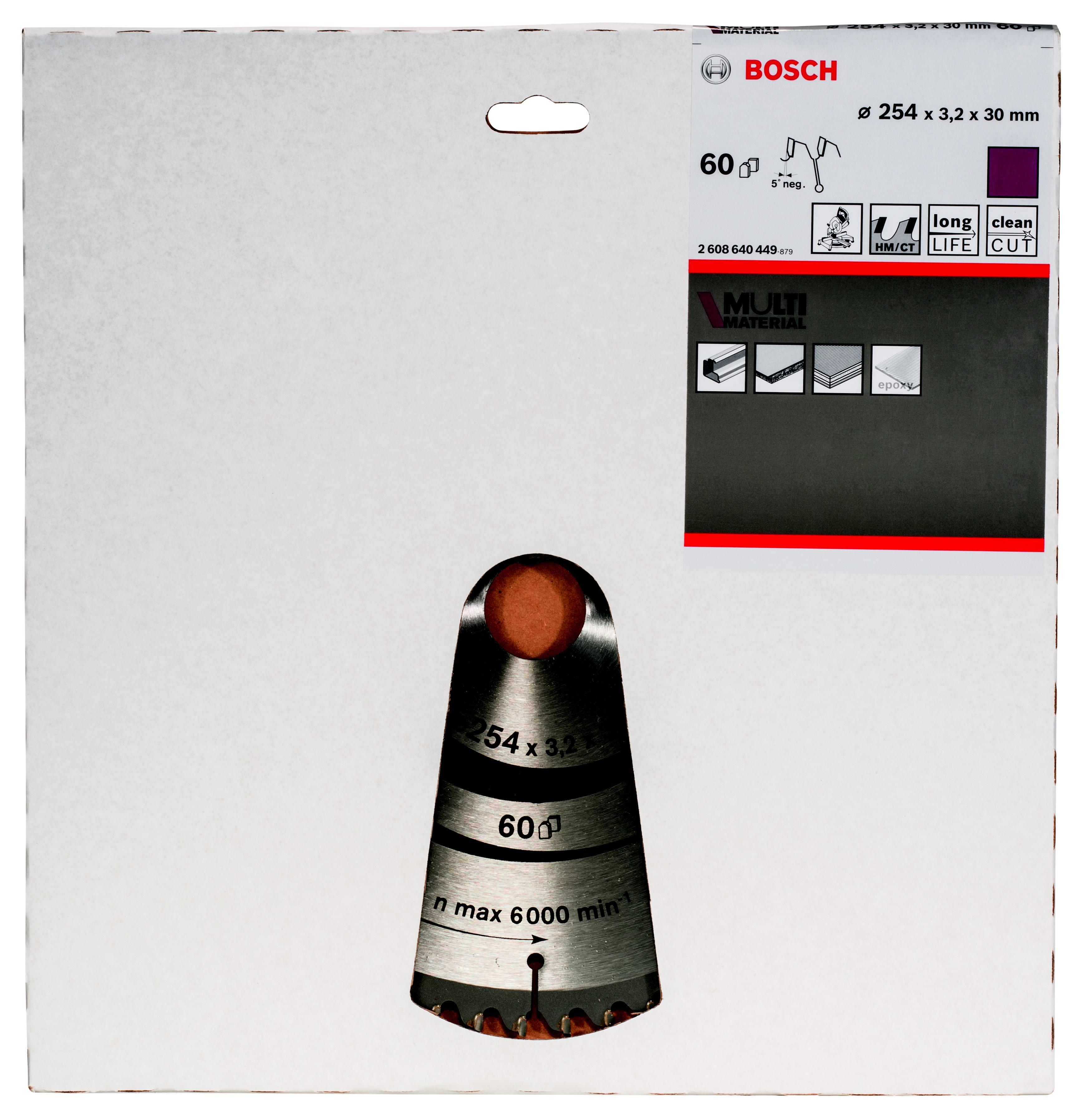 Диск пильный твердосплавный Bosch Multi material 254x60x30 gcm 10 (2.608.640.449)