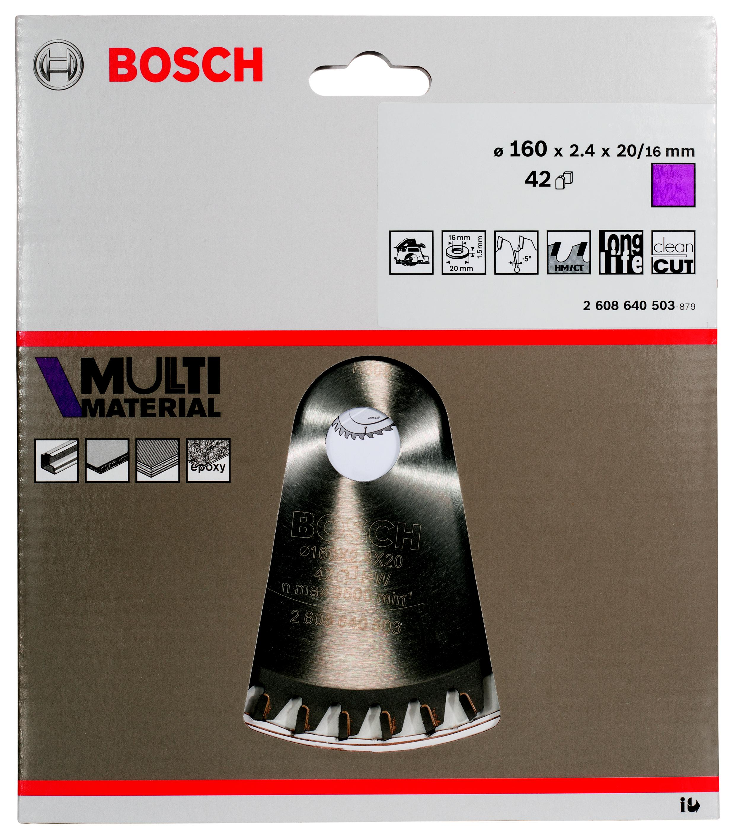 Диск пильный твердосплавный Bosch Multi material 160x42x20/16 (2.608.640.503) bioinert material