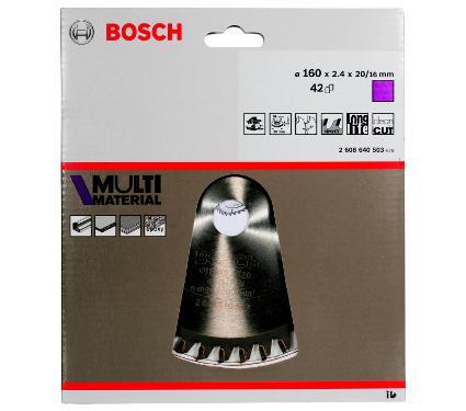 Диск пильный твердосплавный BOSCH Ф160х20мм 42зуб. (Multi Material 2608640503)