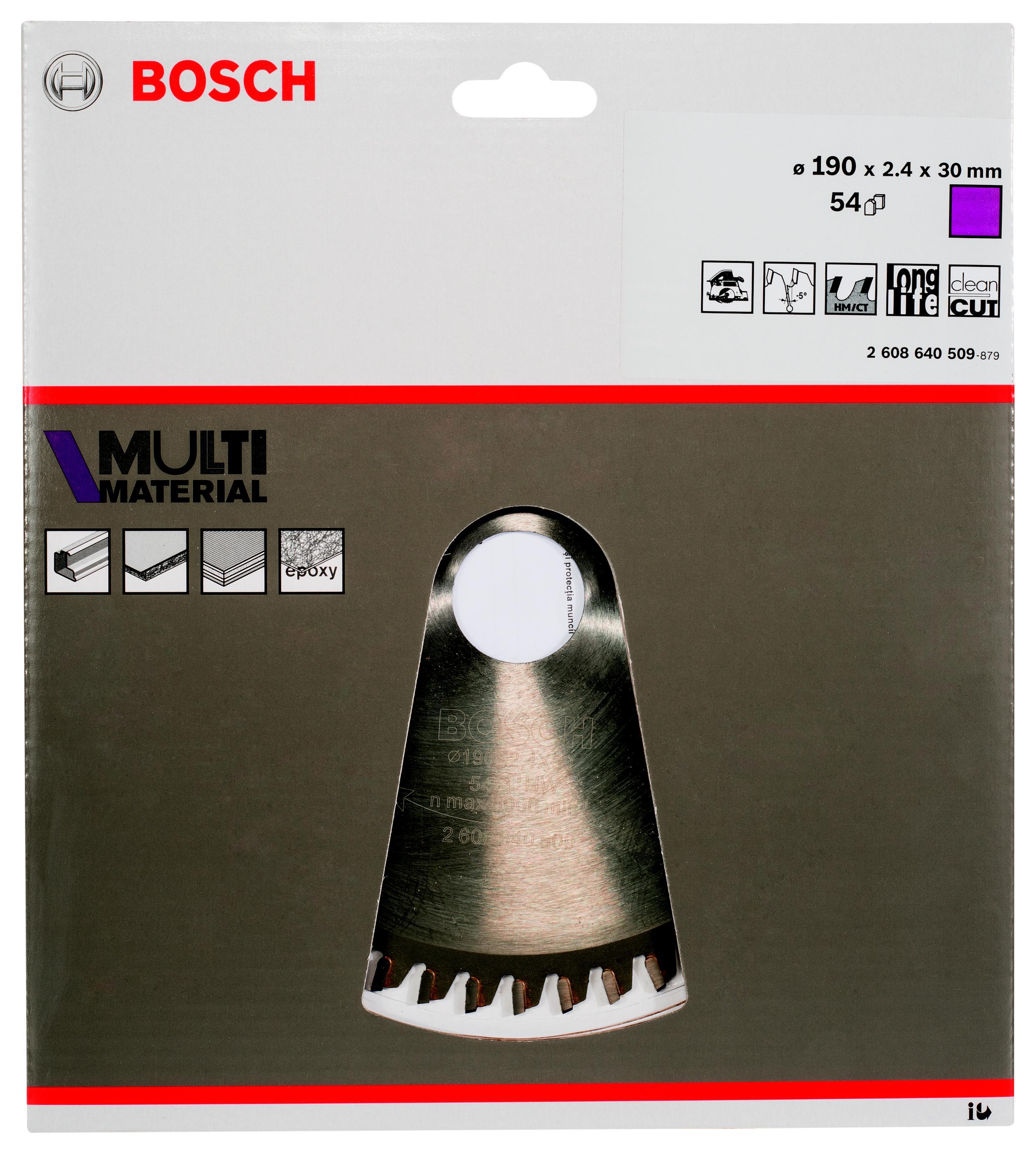 Диск пильный твердосплавный Bosch Multi material 190x54x30 (2.608.640.509)