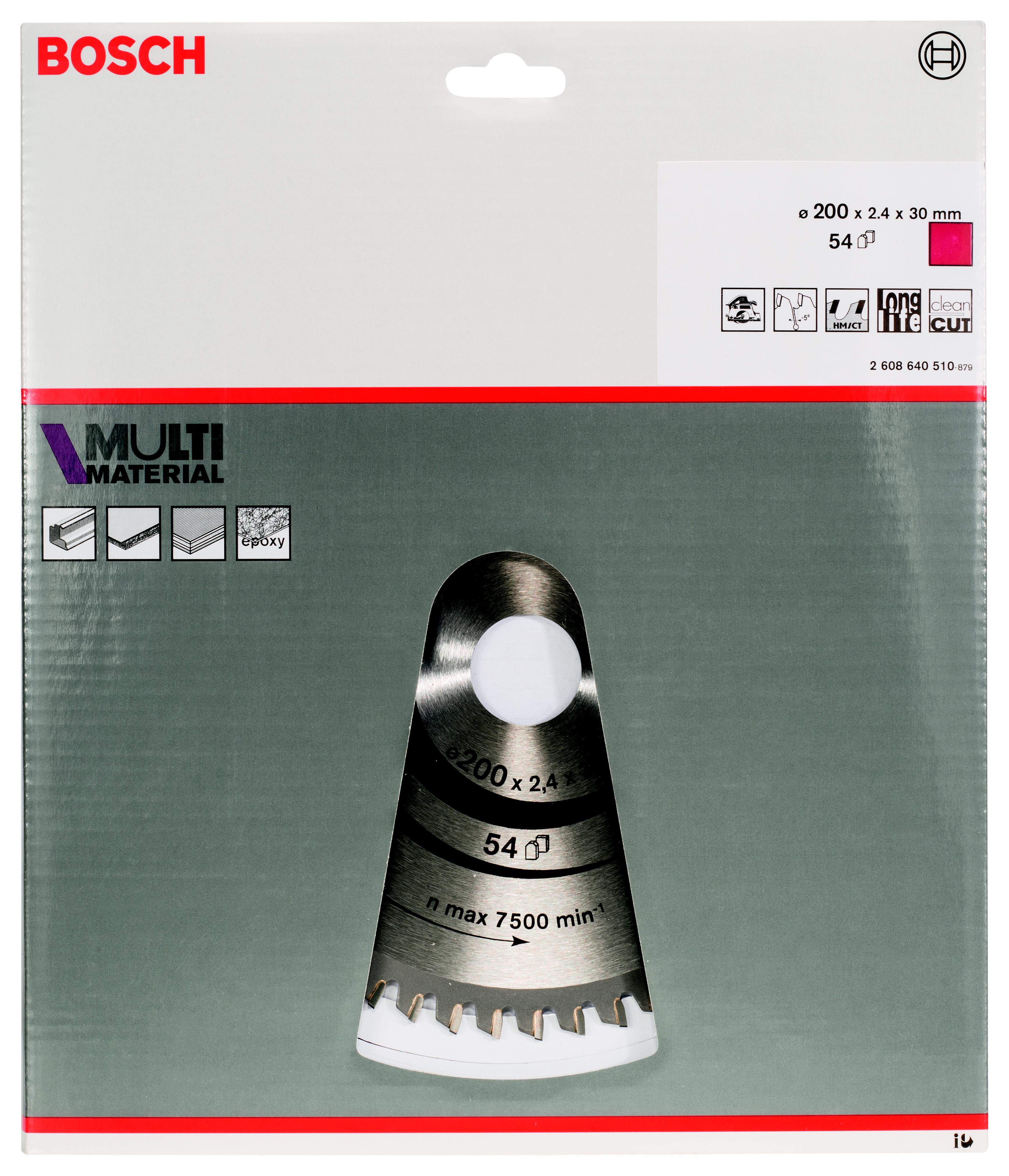 Диск пильный твердосплавный Bosch Multi material 200x54x30 (2.608.640.510)