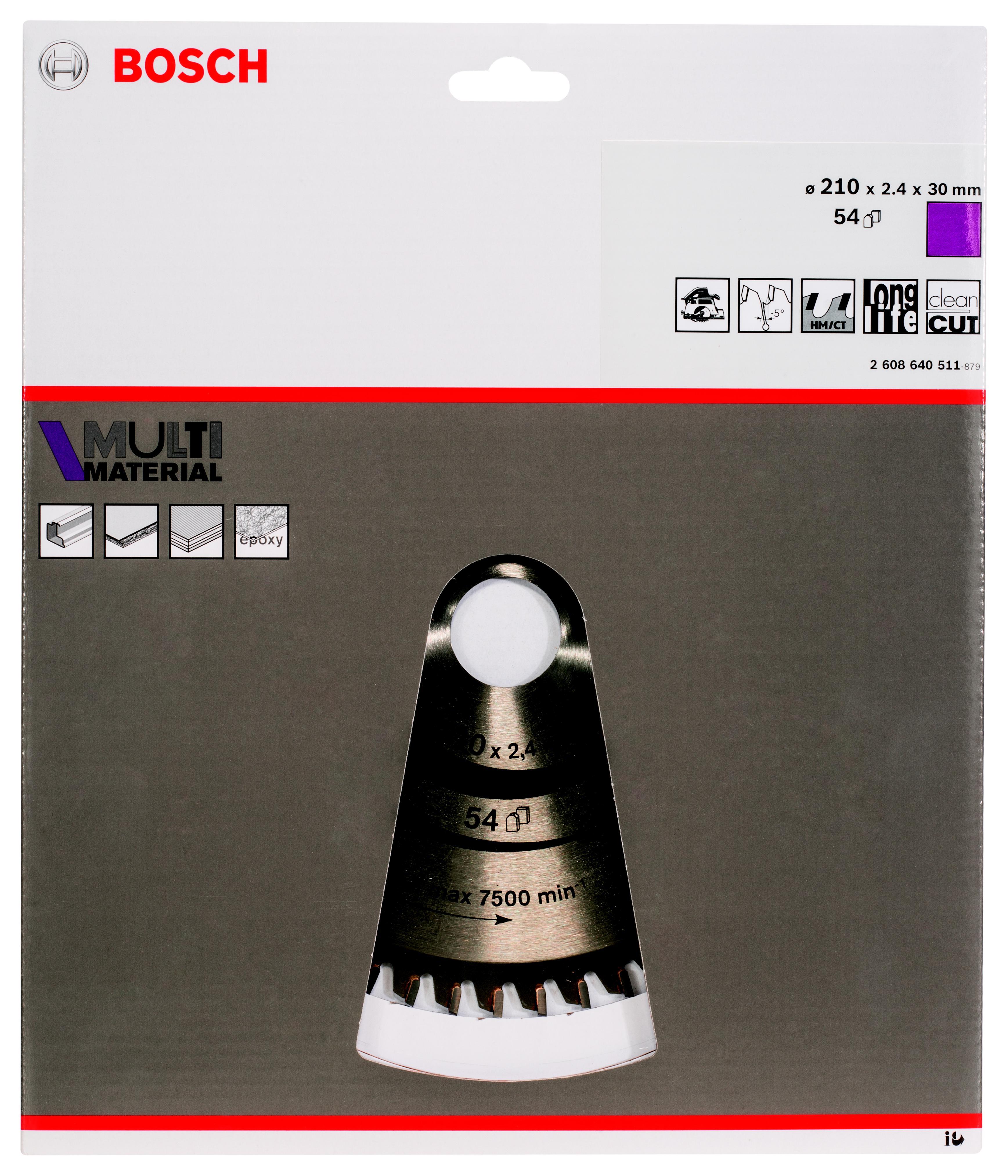 Диск пильный твердосплавный Bosch Multi material 210x54x30 (2.608.640.511)