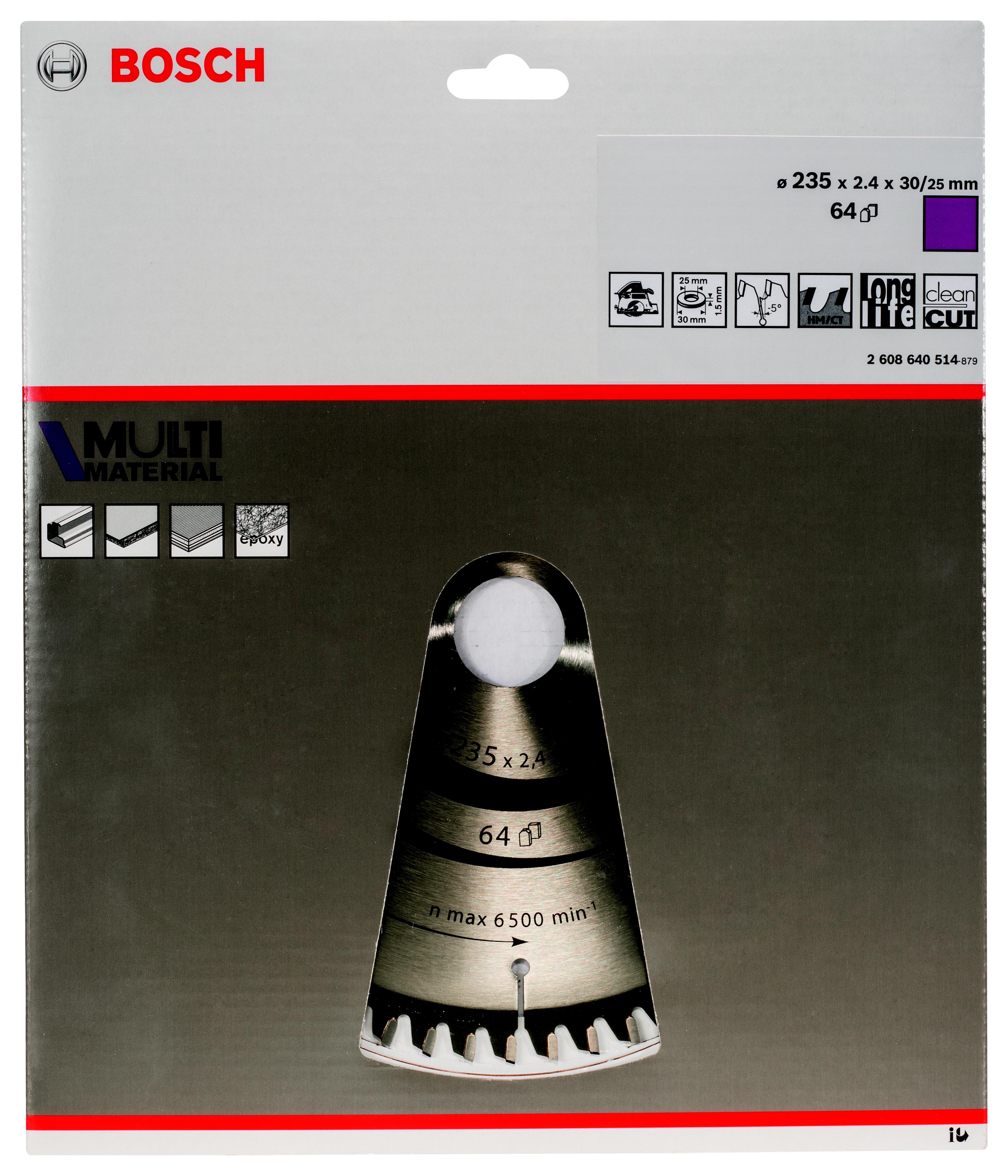 Диск пильный твердосплавный Bosch Multi material 235x64x30 (2.608.640.514)