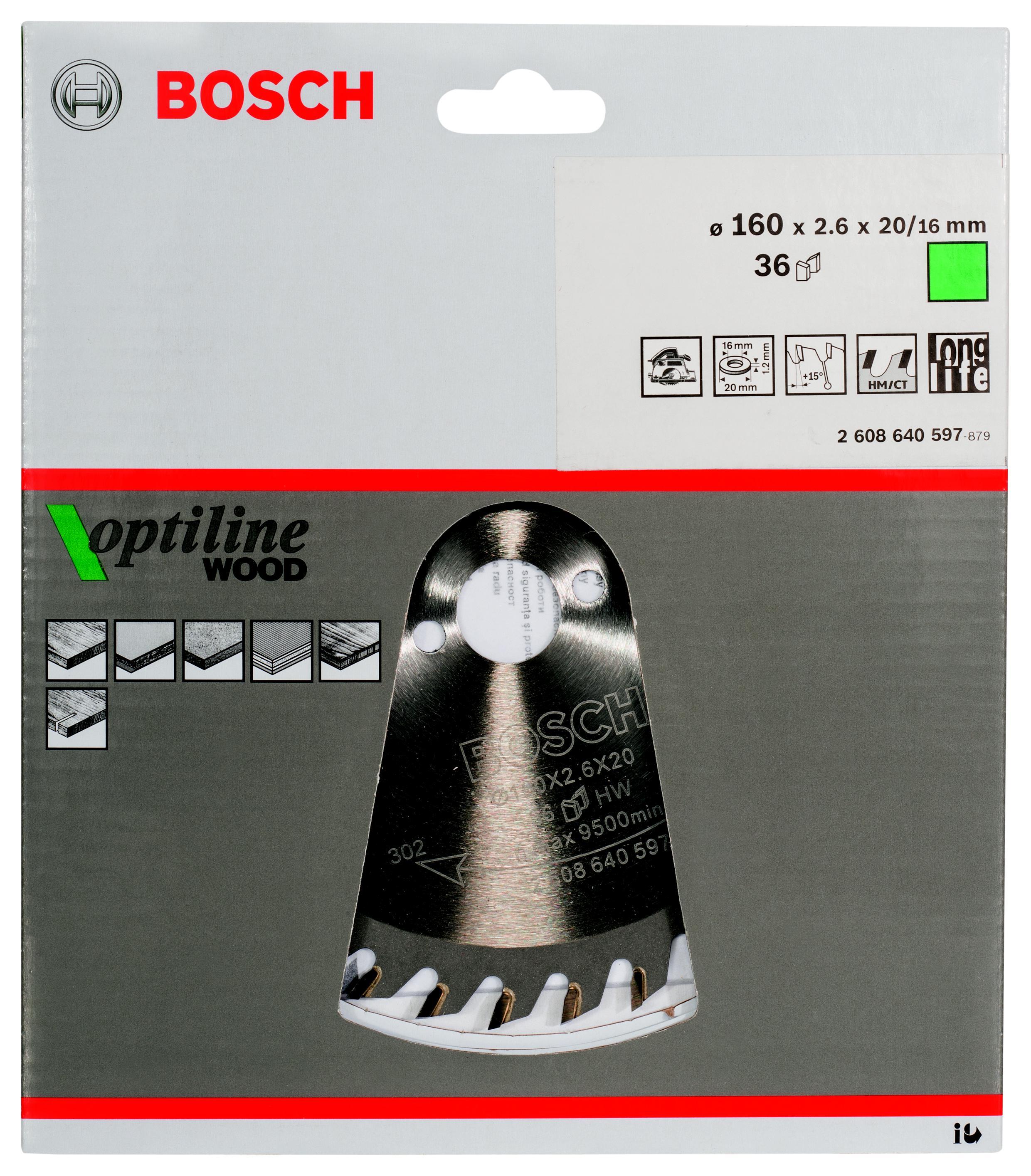 Диск пильный твердосплавный Bosch Optiline wood 160x36x20/16 (2.608.640.597) диск пильный твердосплавный bosch optiline wood 305x60x30 gcm 12 2 608 640 441