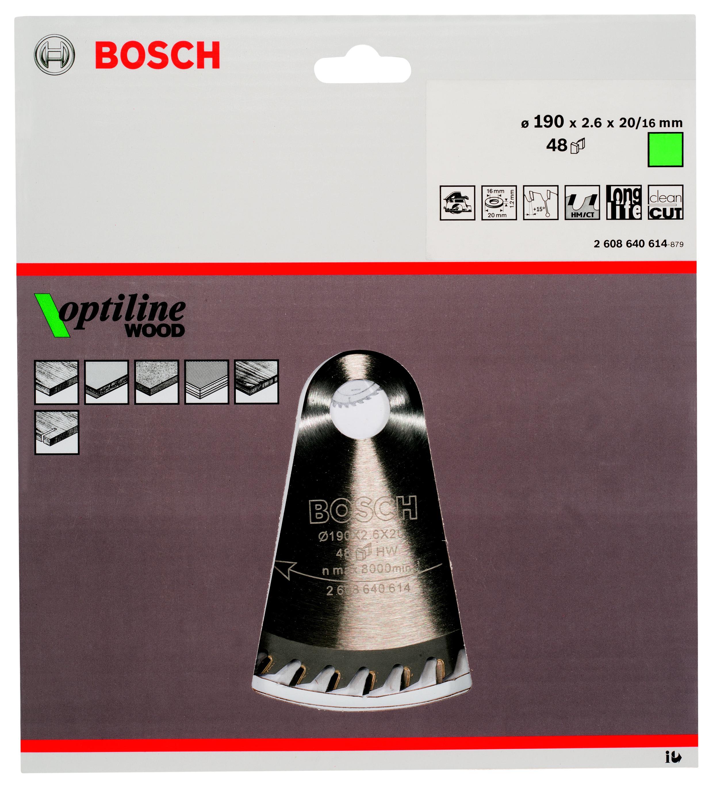Диск пильный твердосплавный Bosch Optiline wood 190x48x20/16 (2.608.640.614) диск пильный bosch 230х30мм 36зубьев optiline wood 2 608 640 628