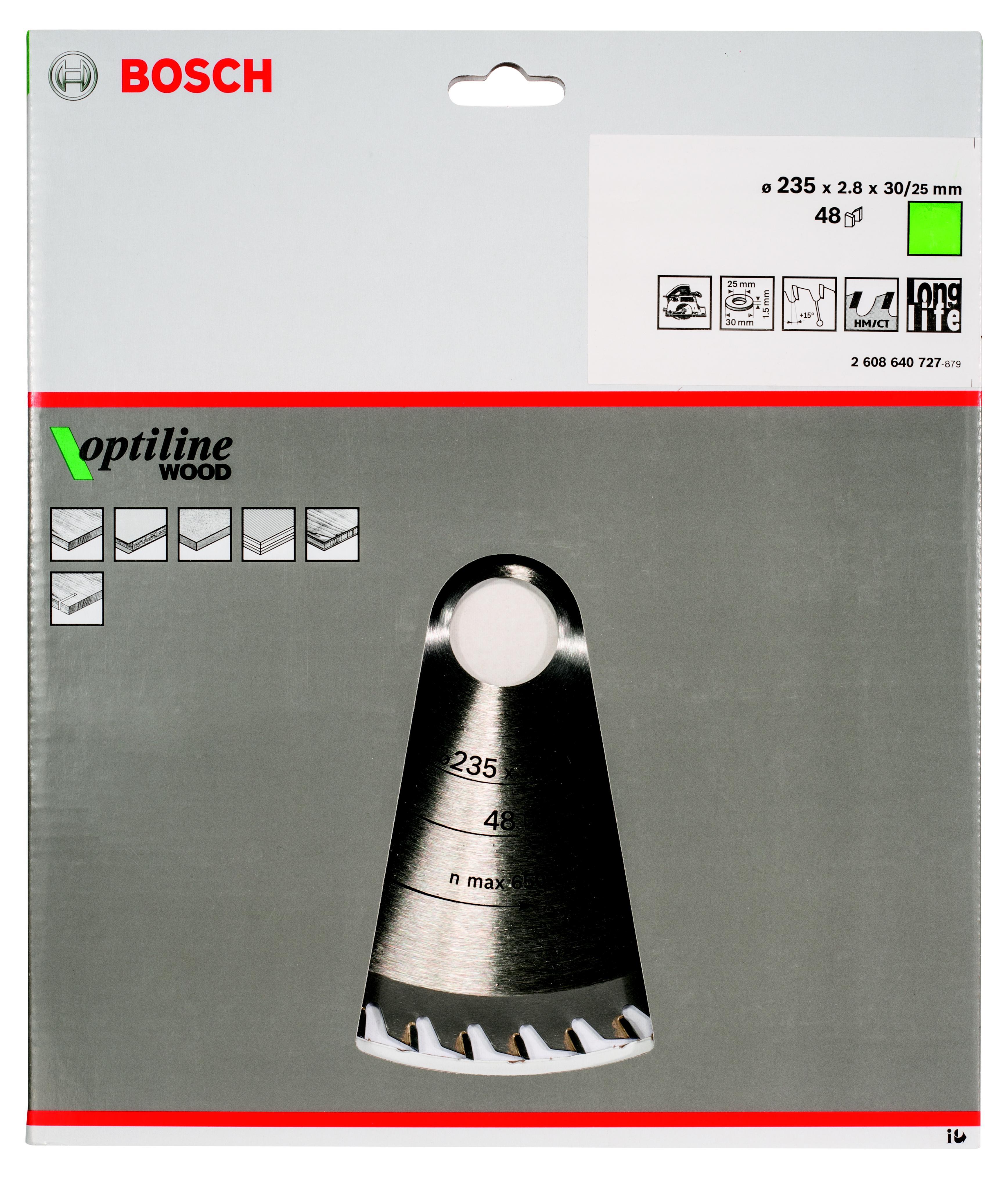 Диск пильный твердосплавный Bosch Optiline wood 235x48x30/25 (2.608.640.727) диск пильный твердосплавный bosch optiline wood 130x20x20 16 2 608 640 582