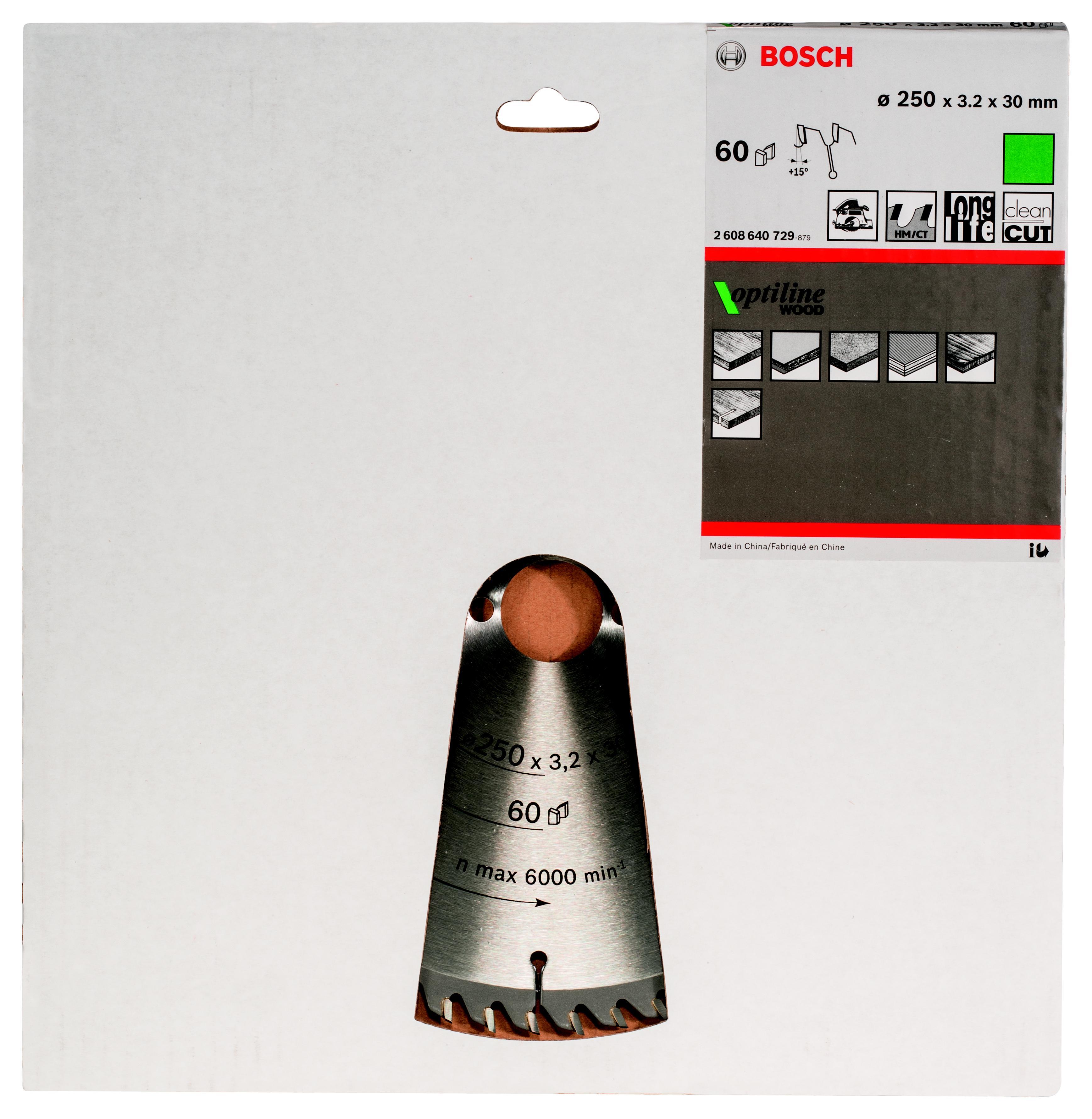 Диск пильный твердосплавный Bosch Optiline wood 250x60x30 (2.608.640.729) диск отрезной для торцовочных пил bosch optiline wood 2608640432