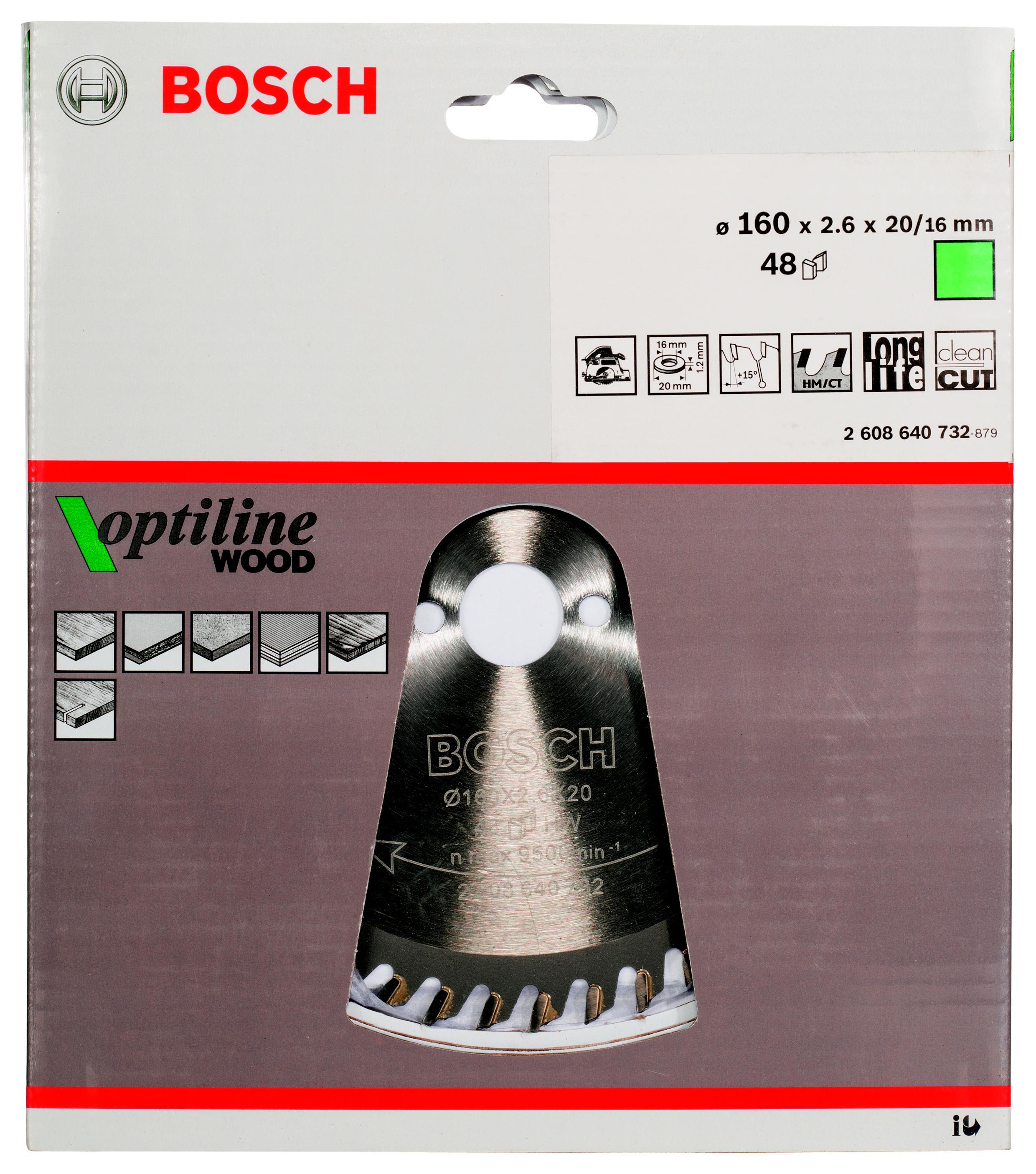Диск пильный твердосплавный Bosch Optiline wood 160x48x20/16 (2.608.640.732) диск пильный твердосплавный bosch optiline wood 305x60x30 gcm 12 2 608 640 441