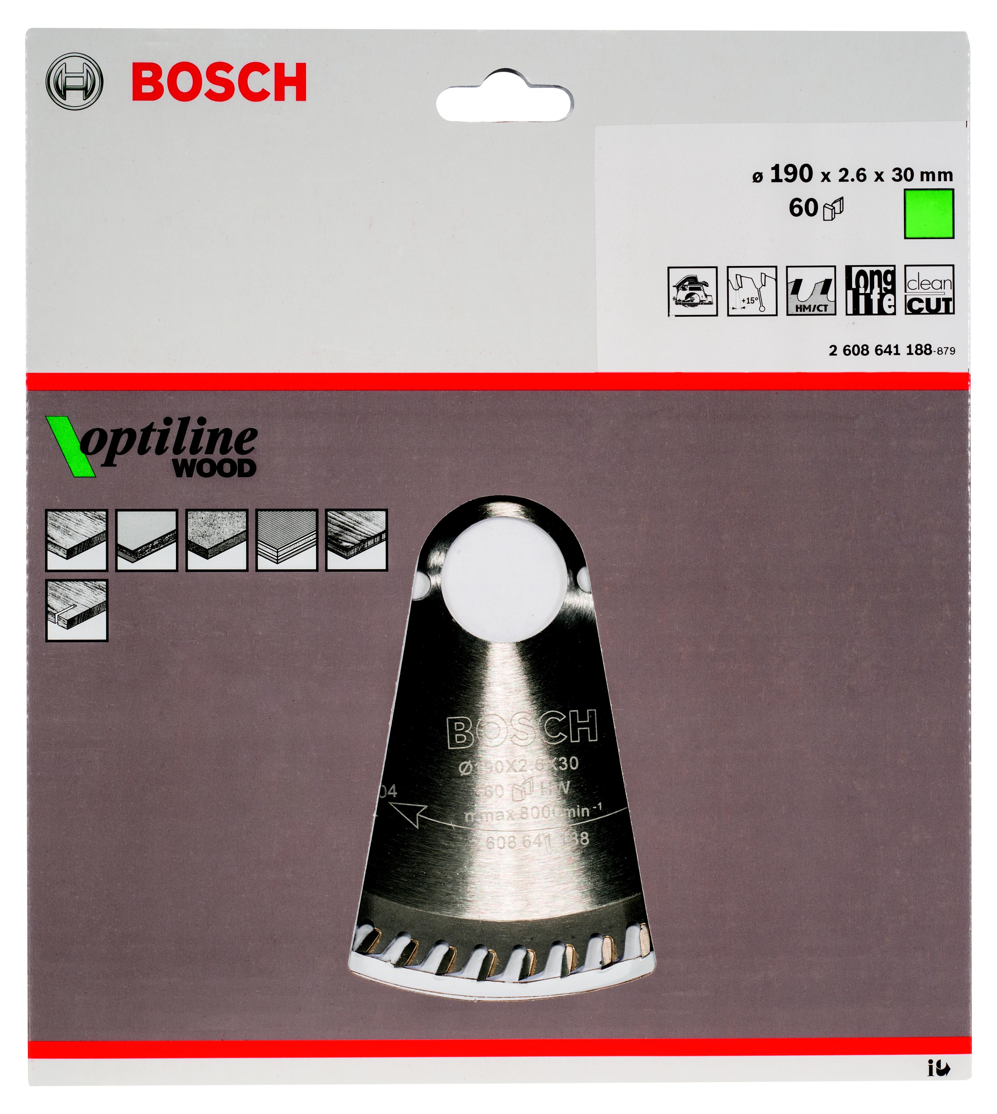 Диск пильный твердосплавный Bosch Optiline wood 190x60x30 (2.608.641.188) диск пильный bosch 190х20мм 36зубьев optiline wood 2 608 640 613