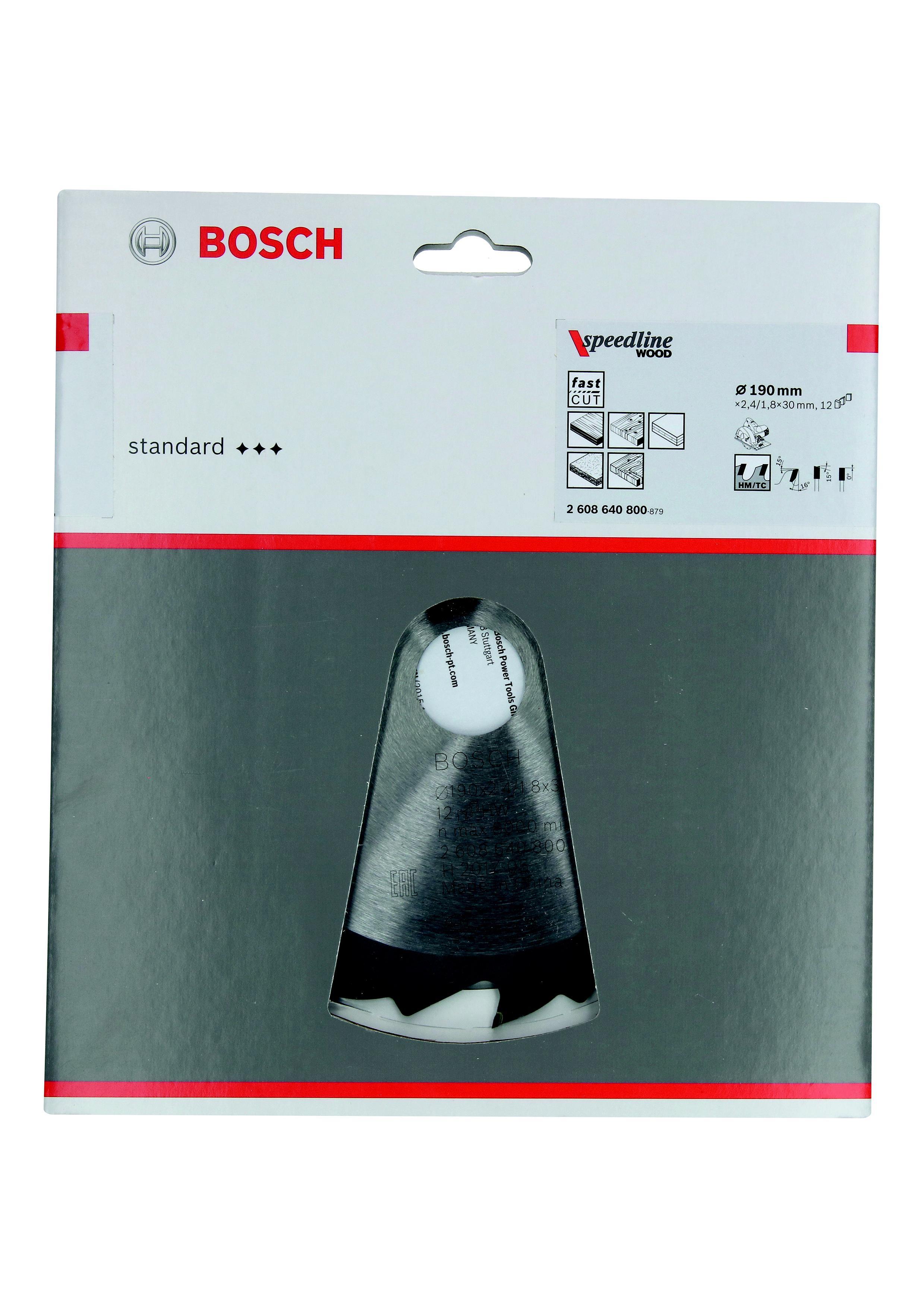 Диск пильный твердосплавный Bosch Ф190х30мм 12зуб. (speedline wood 2608640800)