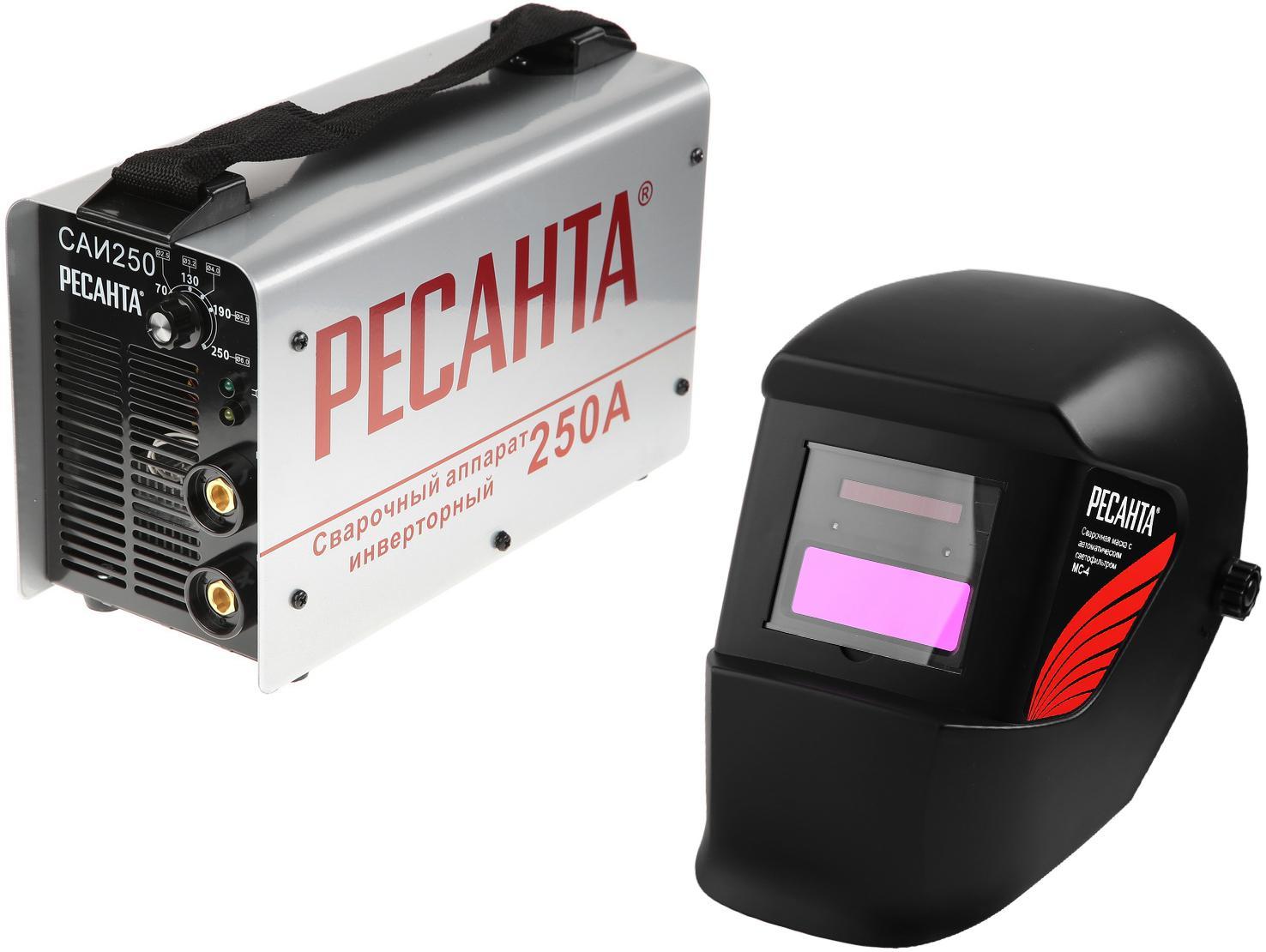 Набор РЕСАНТА Сварочный аппарат Инвертор сварочный САИ 250 в кейсе +Маска МС-4 набор ресанта сварочный аппарат инвертор сварочный саи 250 в кейсе маска мс 4 электроды для сварки мр 3 ф3 0 1кг