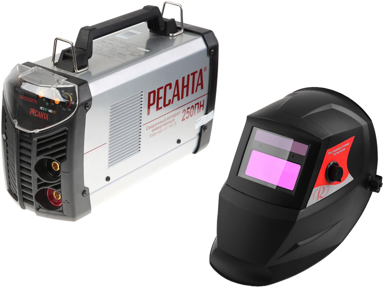 Набор РЕСАНТА Сварочный аппарат Инвертор сварочный САИ 250 ПН +Маска МС-3 набор ресанта сварочный аппарат инвертор сварочный саи 250 в кейсе маска мс 4 электроды для сварки мр 3 ф3 0 1кг