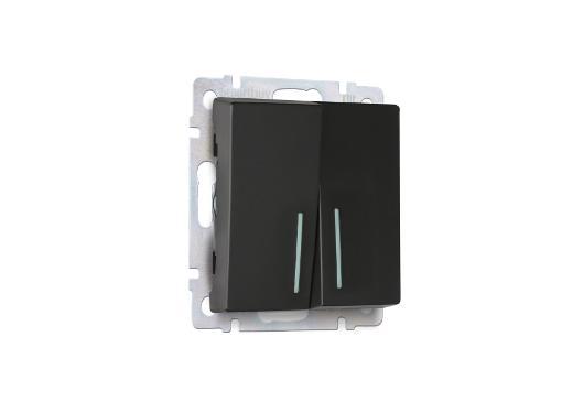 Выключатель двойной с подсветкой SMARTBUY SBE-05b-10-SW22-1