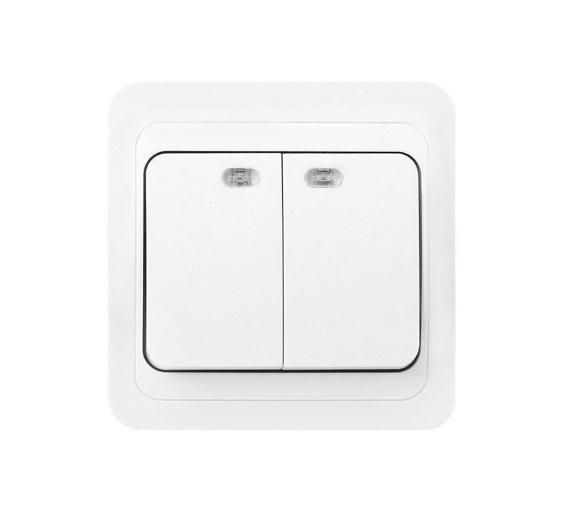 Выключатель двойной с подсветкой SMARTBUY SBE-02w-10-SW2-1
