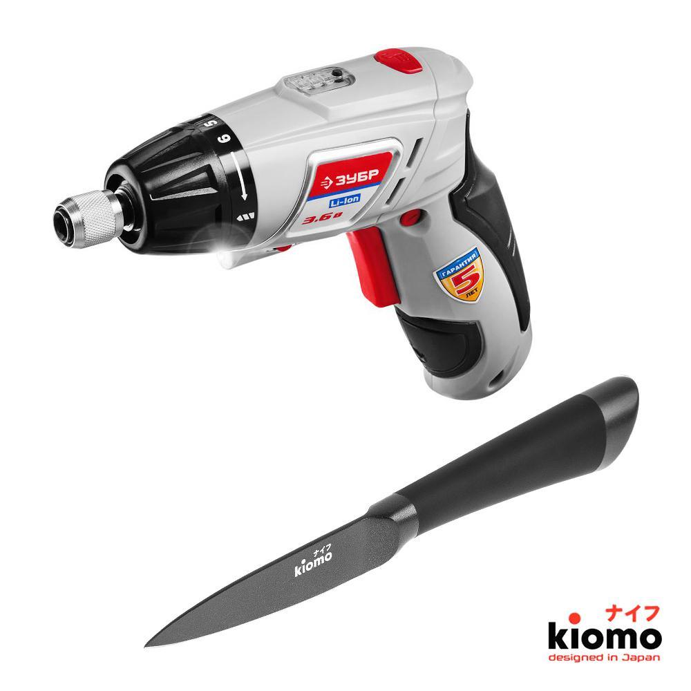 Набор ЗУБР Отвертка аккумуляторная ЗО-3.6-Ли КН43 + Японский нож kiomo набор зубр пила циркулярная зпд 2000 два японских ножа kiomo