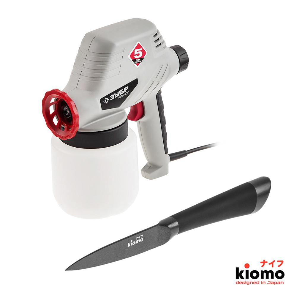 Набор ЗУБР Краскопульт КПЭ-100 + Японский нож kiomo