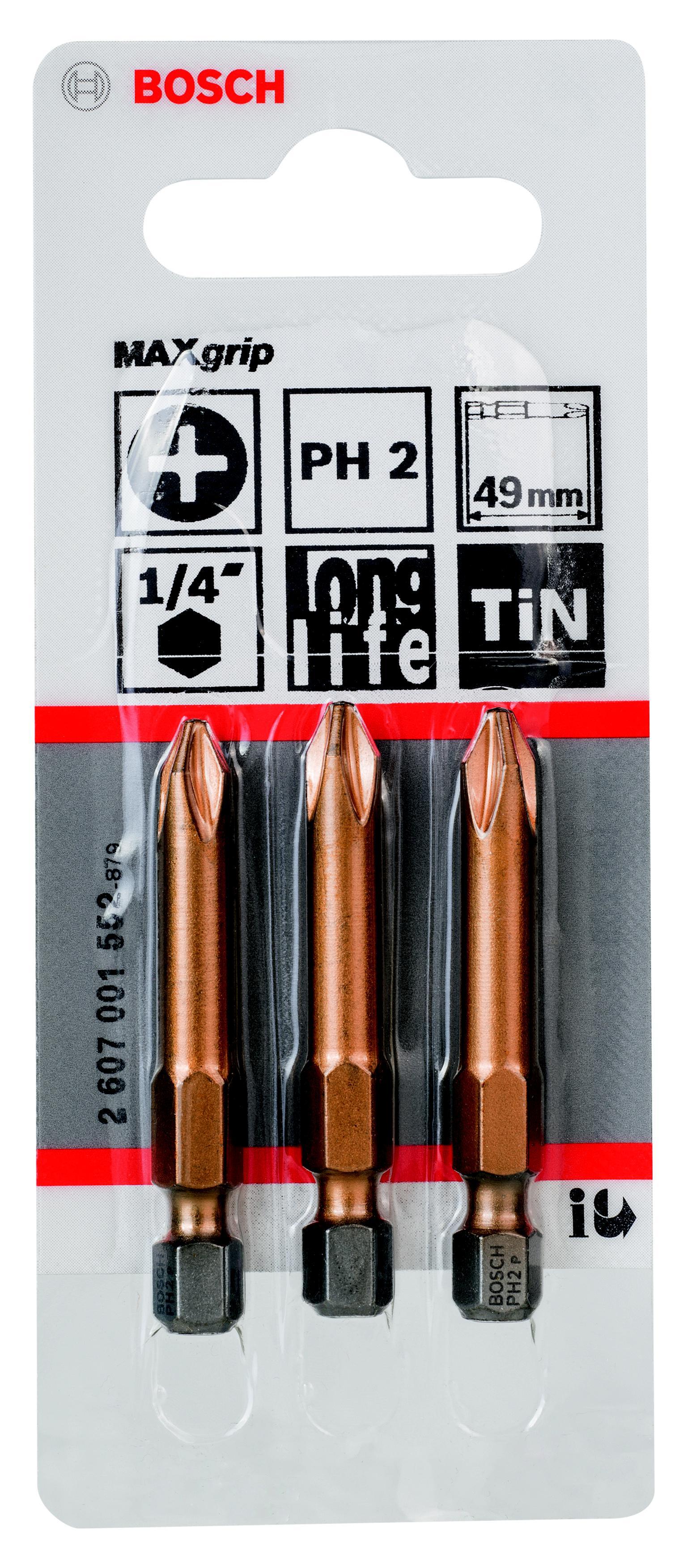 Бита Bosch Maxgrip ph2 49 мм, 3 шт. (2.607.001.552) бита рz1 49 мм 3 шт bosch профи