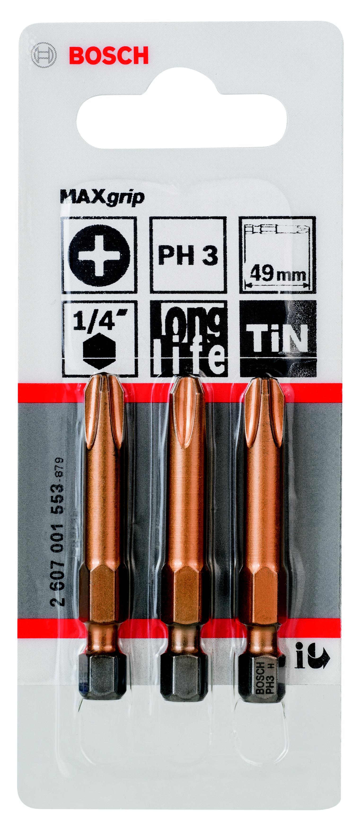 Бита Bosch Maxgrip ph3 49 мм, 3 шт. (2.607.001.553) бита рz1 49 мм 3 шт bosch профи
