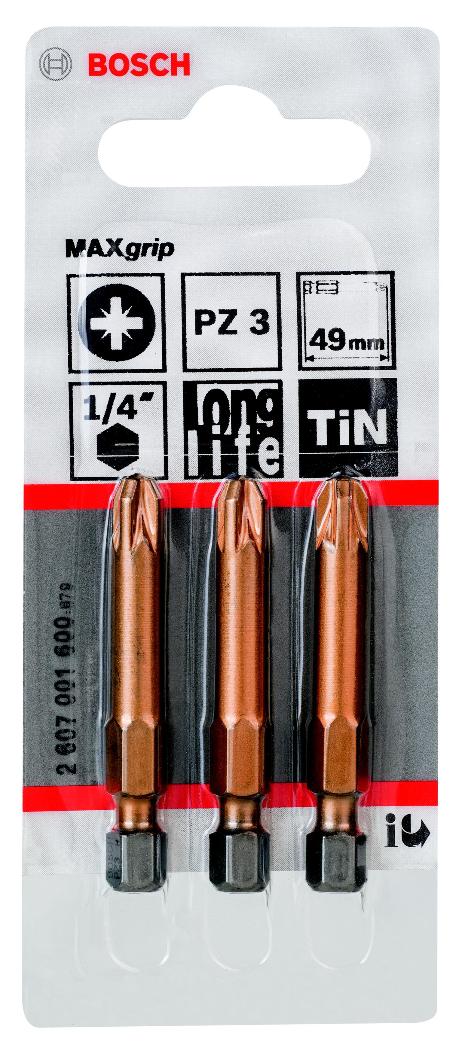 Бита Bosch Maxgrip pz3 49 мм, 3 шт. (2.607.001.600) бита рz1 49 мм 3 шт bosch профи