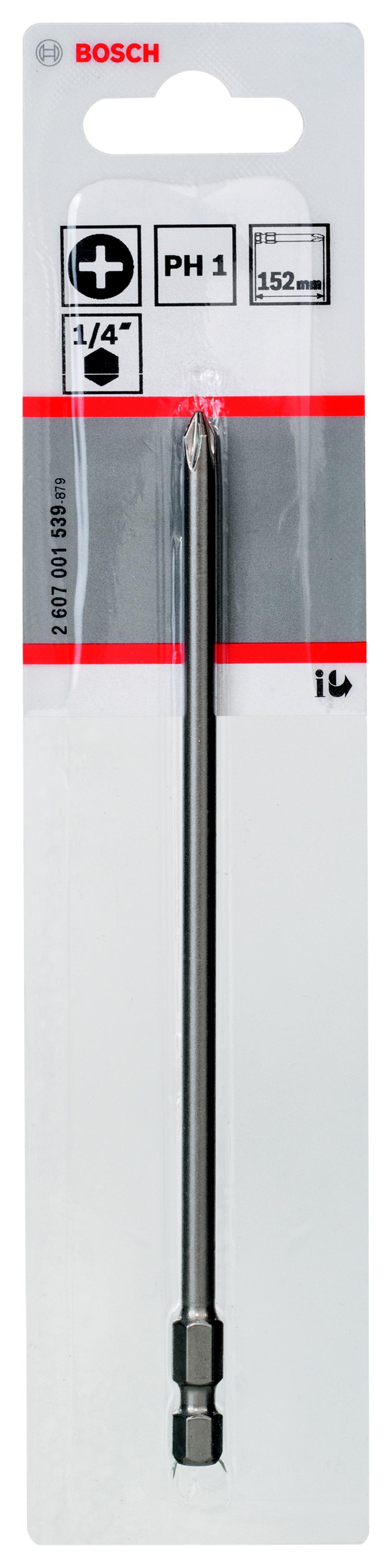 Бита Bosch Extra-hart ph1 152 мм, 1 шт. (2.607.001.539) набор бит bosch ph pz tx sl 12шт extra hart 2 608 255 994