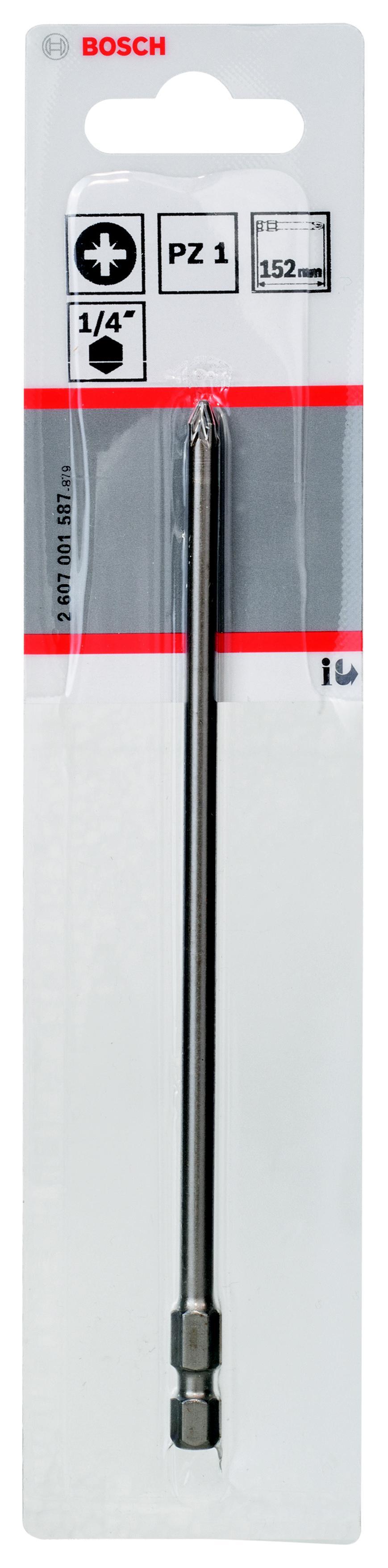 Бита Bosch Extra-hart pz1 152 мм, 1 шт. (2.607.001.587) набор бит bosch ph pz tx sl 12шт extra hart 2 608 255 994
