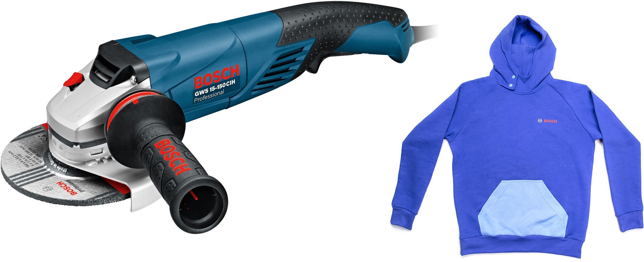 Набор Bosch УШМ (болгарка) gws 15-150 cih (0.601.830.522) +толстовка blue 1619m00u9s углошлифмашина bosch gws 15 150 cih 0 601 830 522