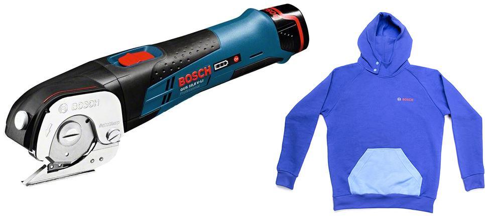 цена на Набор Bosch Ножницы gus 12 v-li2.0 Ач (0.601.9b2.904) +толстовка blue 1619m00u9s