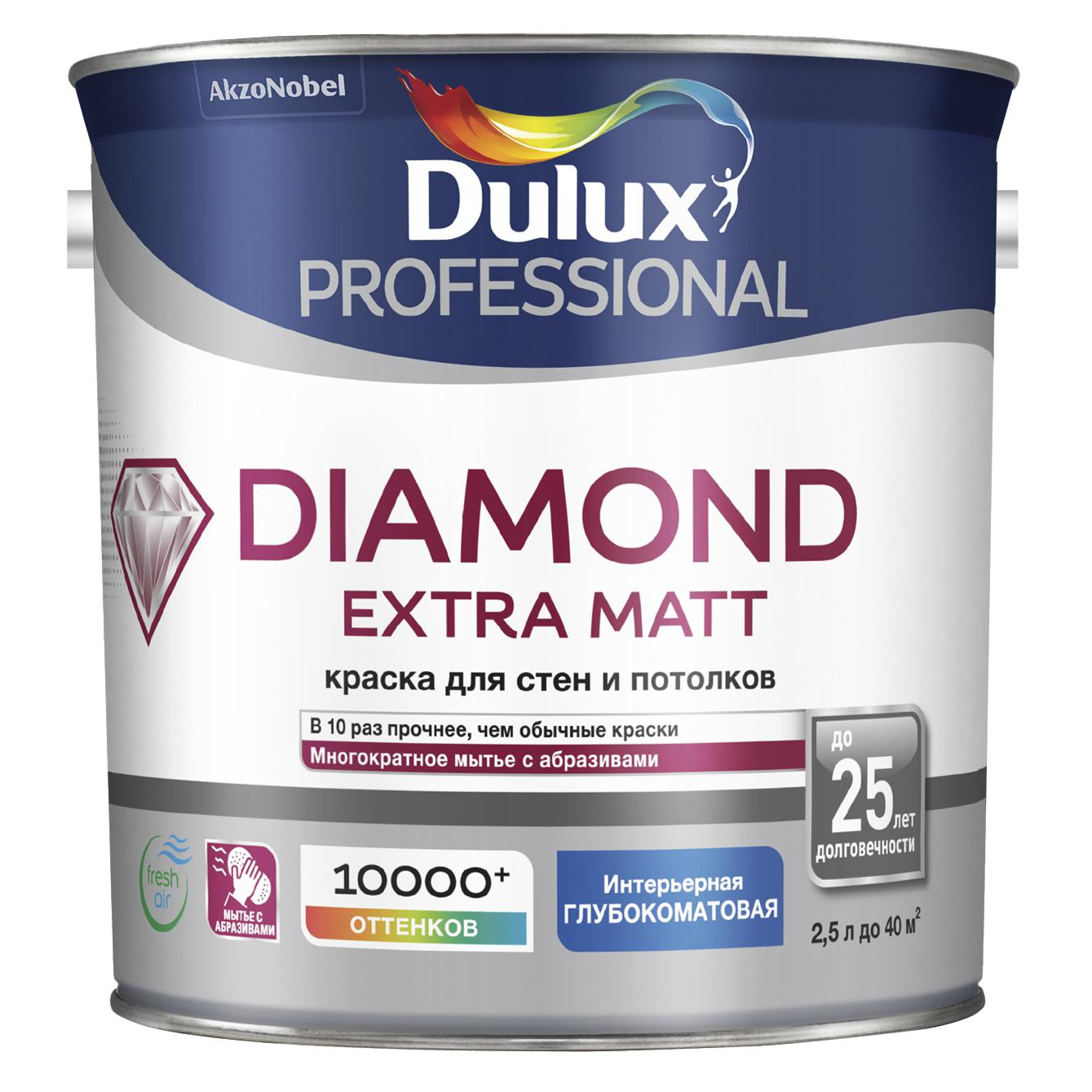 Краска Dulux Diamond extra matt bw белая 2,5 л