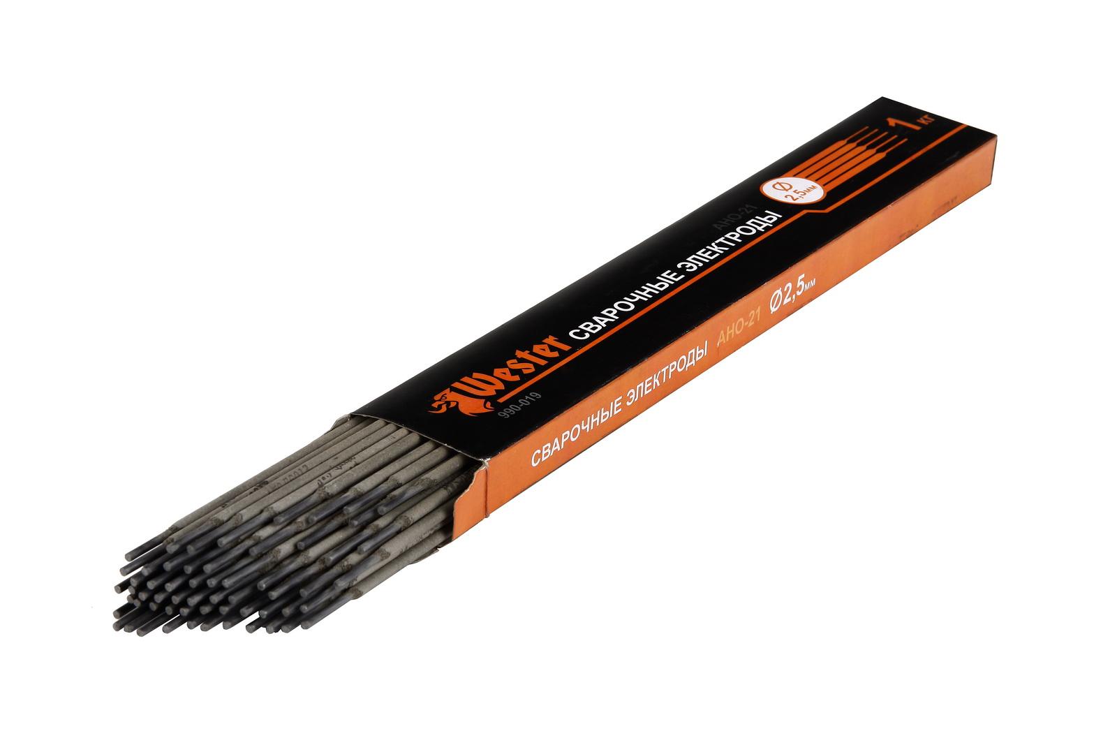 Электроды для сварки Wester 990-019 1кг 2,5мм электроды для сварки wester ано 4 3 0мм 1кг