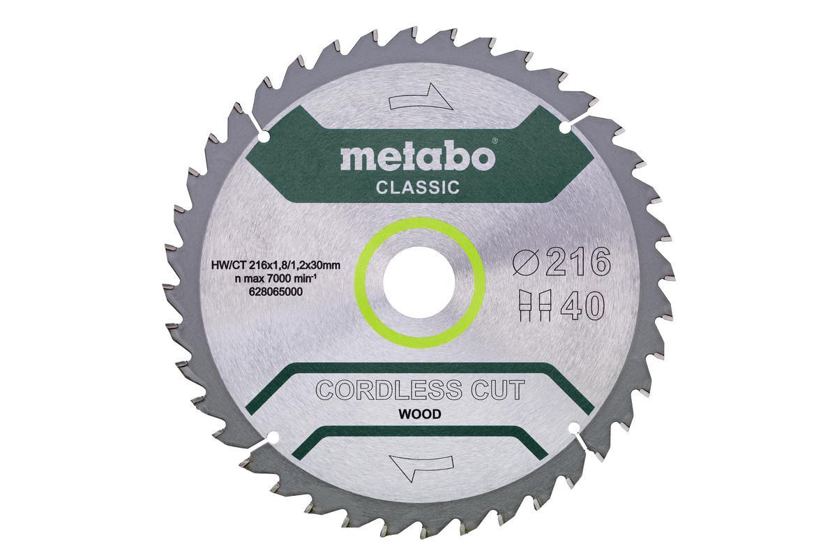 Фото - Диск пильный твердосплавный Metabo Ф216x3040зуб. (628654000) диск пильный твердосплавный fit ф250х32мм 40зуб 37758