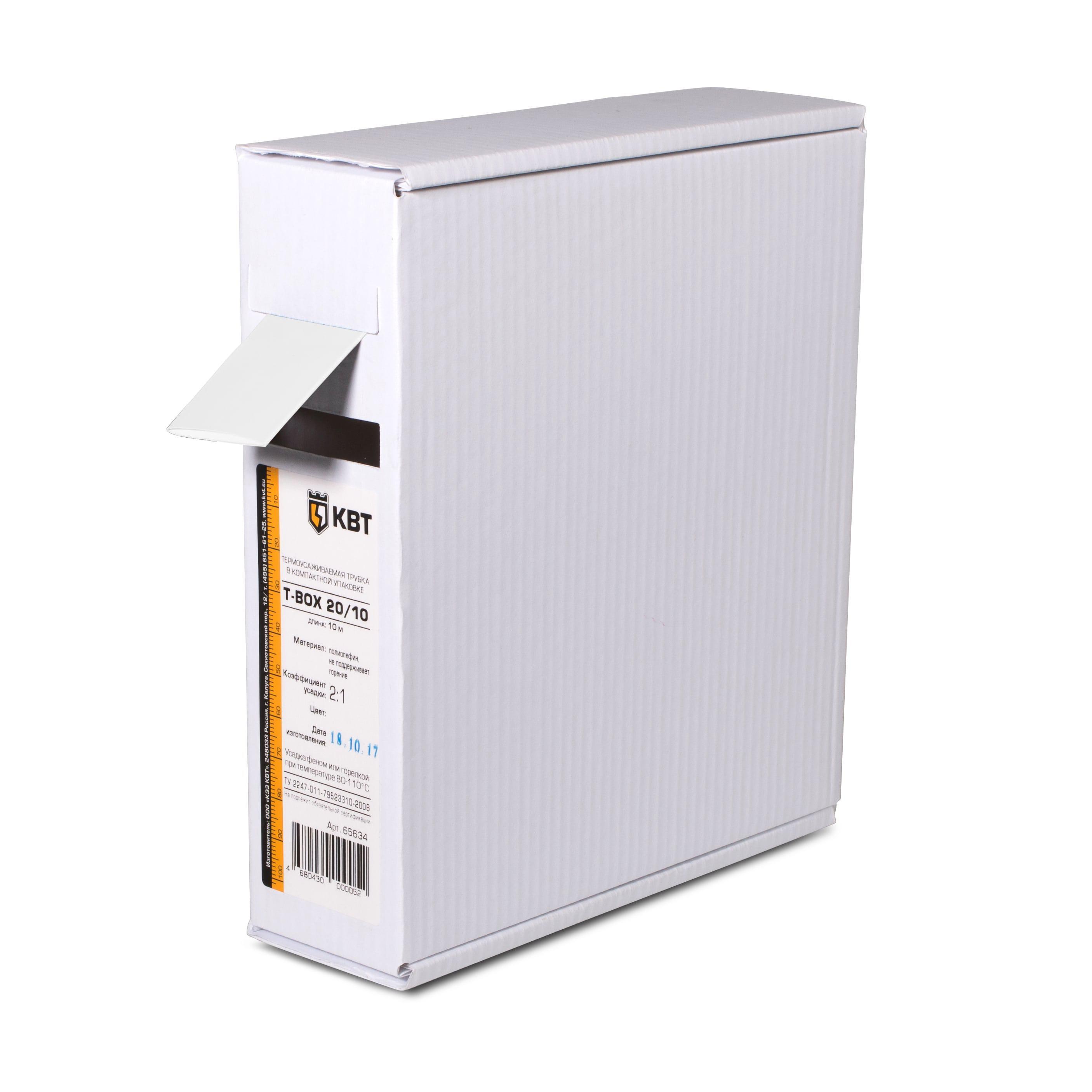 Термоусадочная трубка КВТ Т-box-12/6 бел 10м