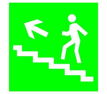 Знак TDM Направление к эвакуационному выходу (по лестнице налево вверх) 150х150мм (SQ0817-0048)