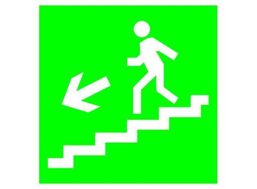 Знак TDM Направление к эвакуационному выходу (по лестнице налево вниз) 150х150мм (SQ0817-0046)