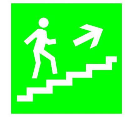Знак TDM Направление к эвакуационному выходу (по лестнице направо вверх) 150х150мм (SQ0817-0047)