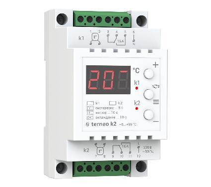 Терморегулятор TERNEO k2  16А х 2 белый