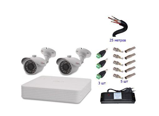 Комплект видеонаблюдения POLYVISION для улицы с 2 AHD камерами HD