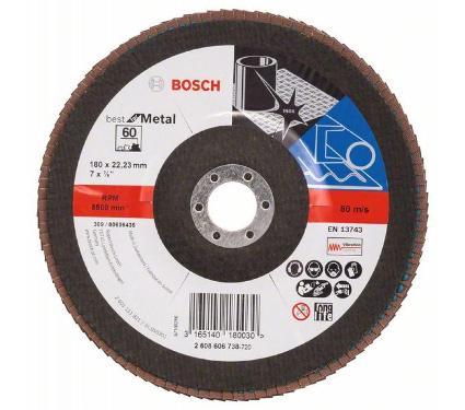 Круг Лепестковый Торцевой (КЛТ) BOSCH КЛ 180х9 х22,23 K60 угл. (2608606738)