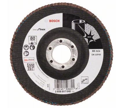 Круг Лепестковый Торцевой (КЛТ) BOSCH КЛ125х10х22,23 K80 угл. (2608607640)